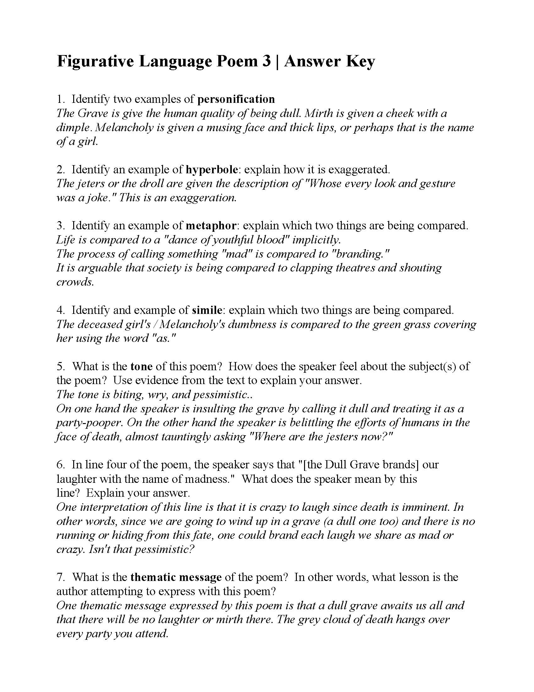 Worksheets Figurative Language Review Worksheet figurative language poem 3 from the grave by robert blair answers this is answer key for by