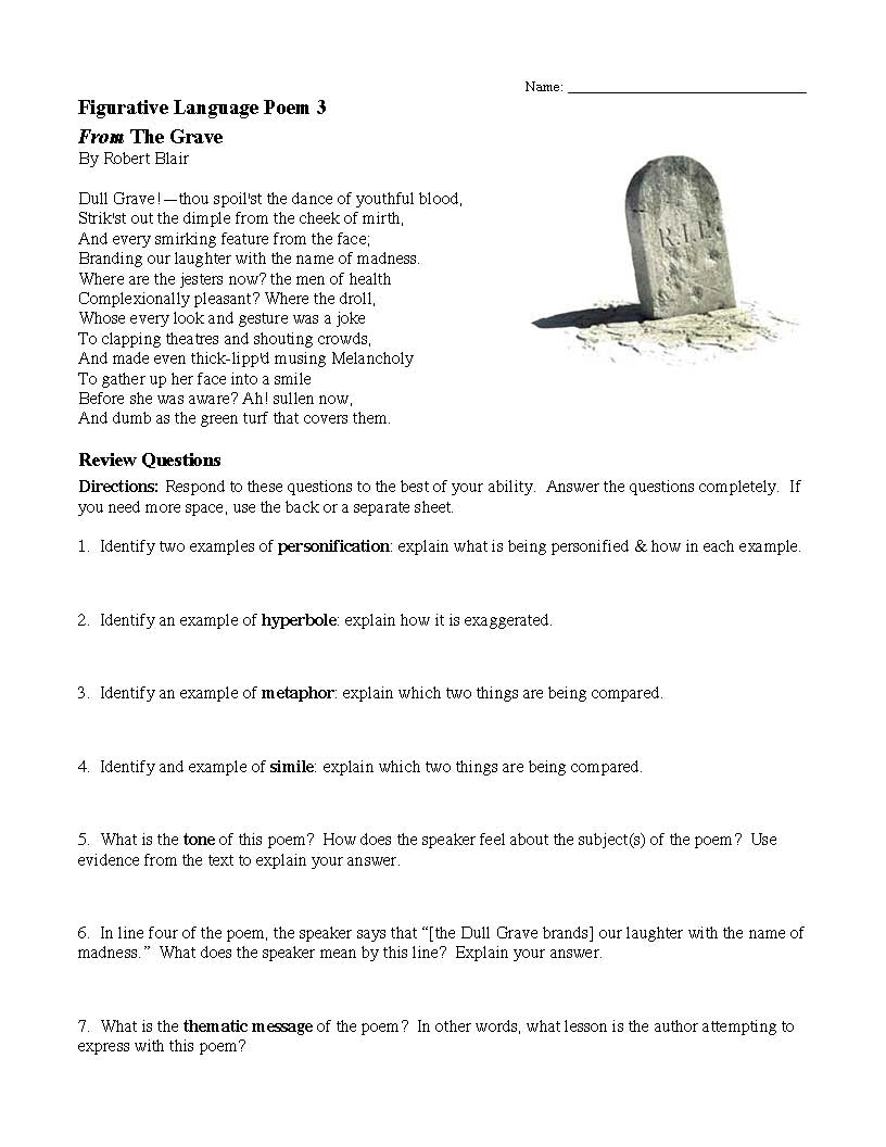 This is a preview image of the Figurative Language Poem 3: from The Grave by Robert Blair.