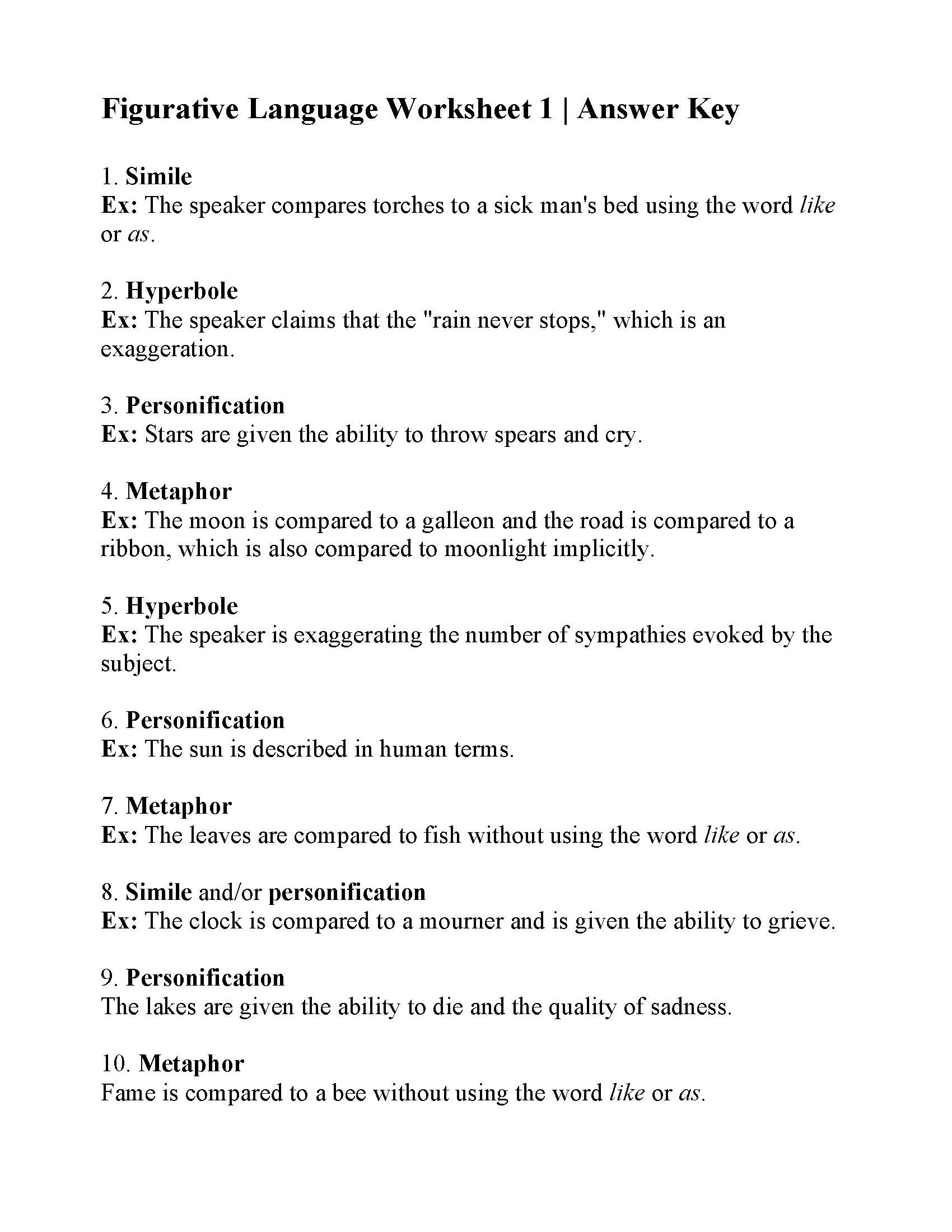 Worksheets Figurative Language Review Worksheet figurative language worksheet 1 answers 1