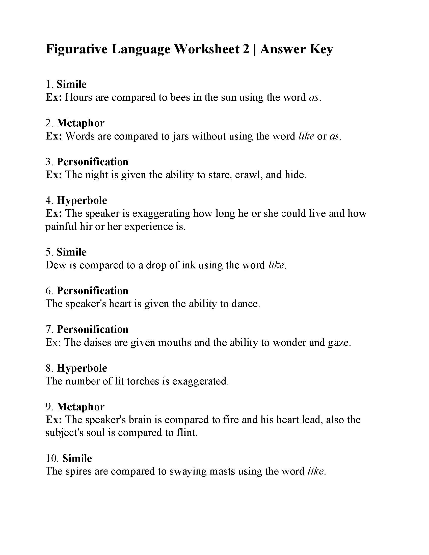Figurative Language Worksheet 2 | Answers