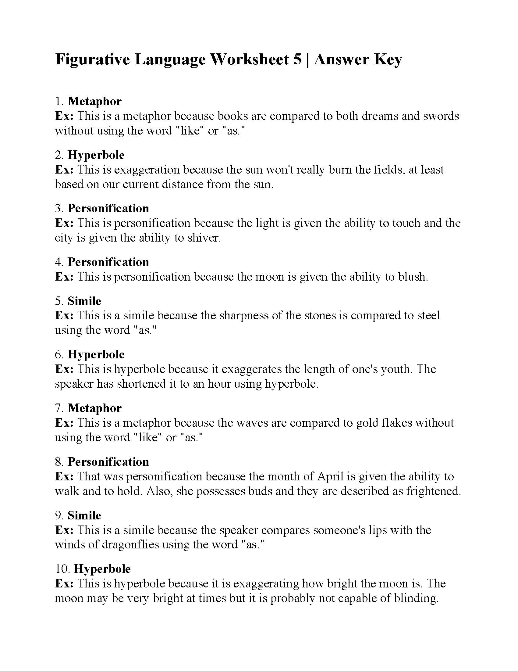 Worksheets Figurative Language Review Worksheet figurative language worksheet 5 answers this is the answer key for 5