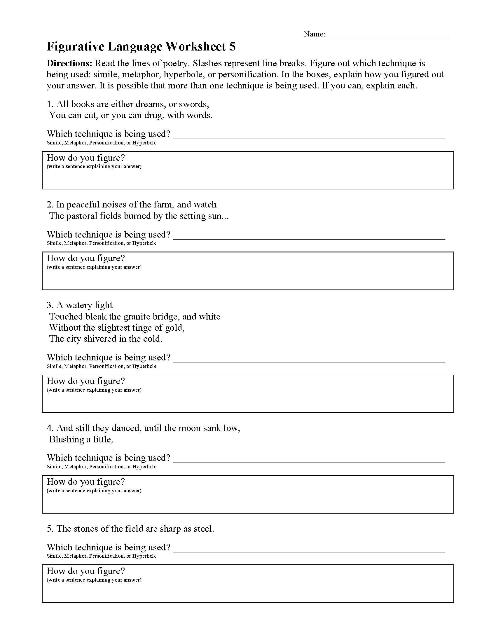 Figurative Language Worksheet 5 Preview