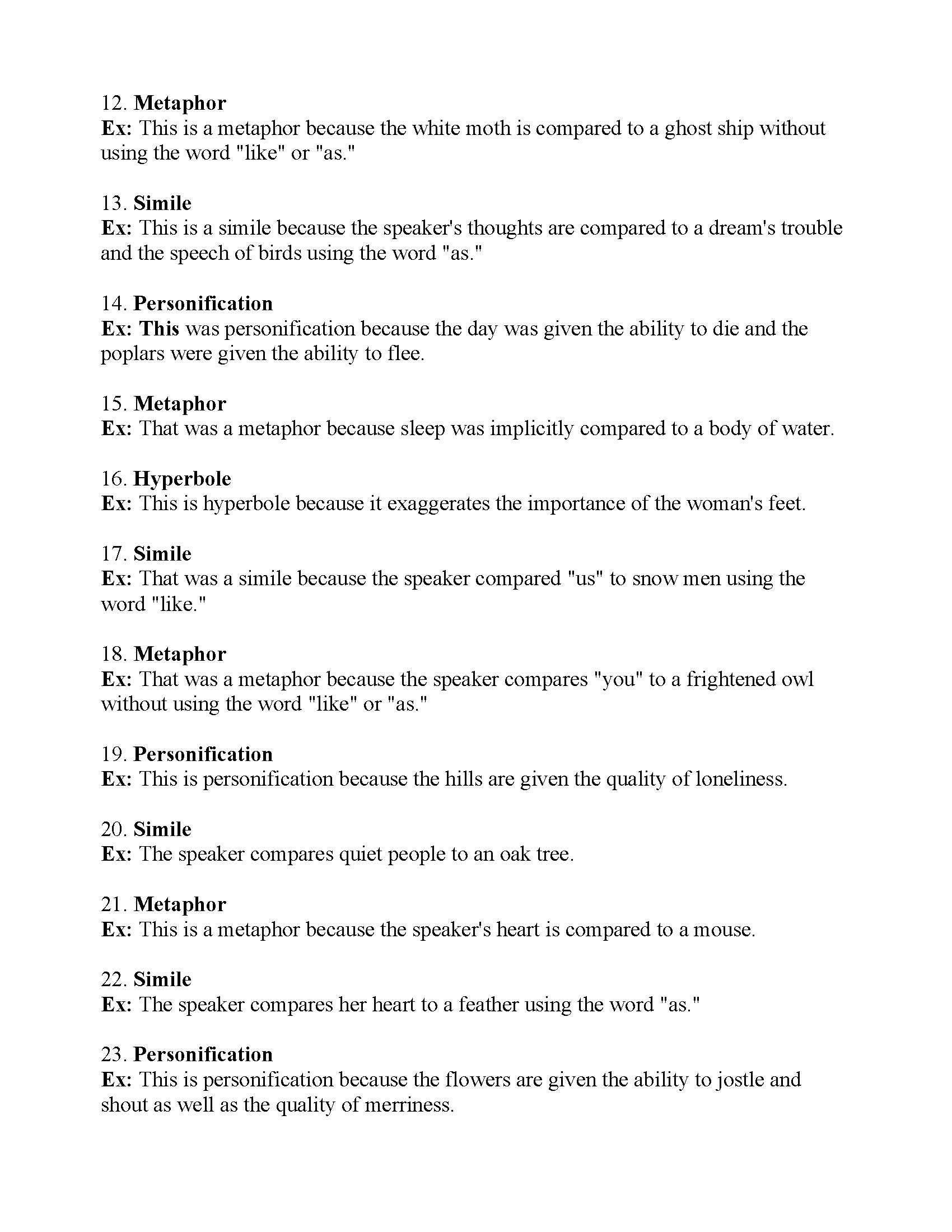 Figurative Language Worksheet 6 | Answers