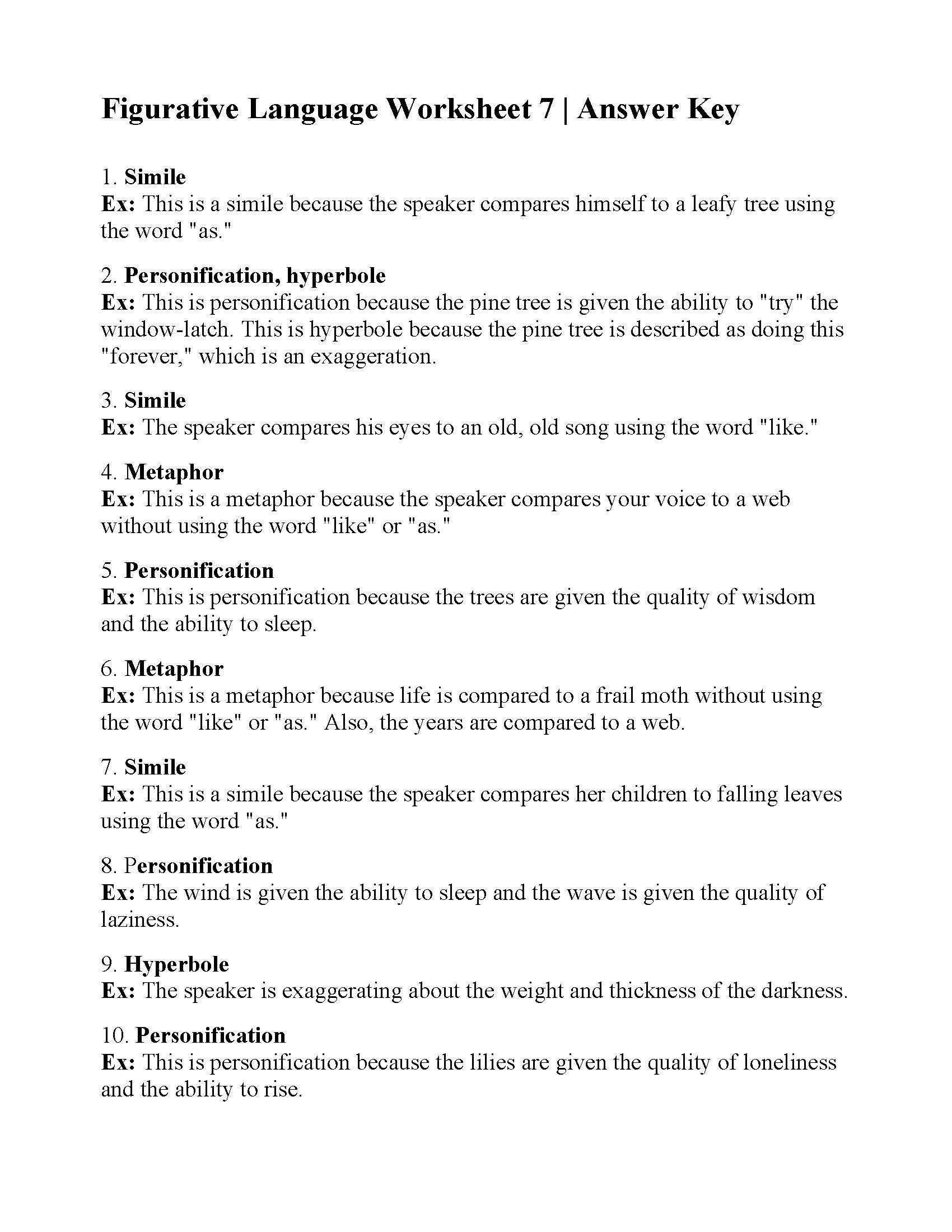 Figurative Language Worksheet 7 Answers