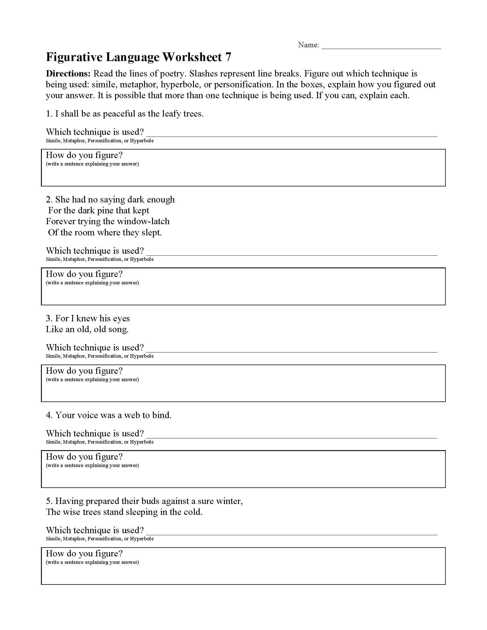 This is a preview image of the Figurative Language Worksheet 7.