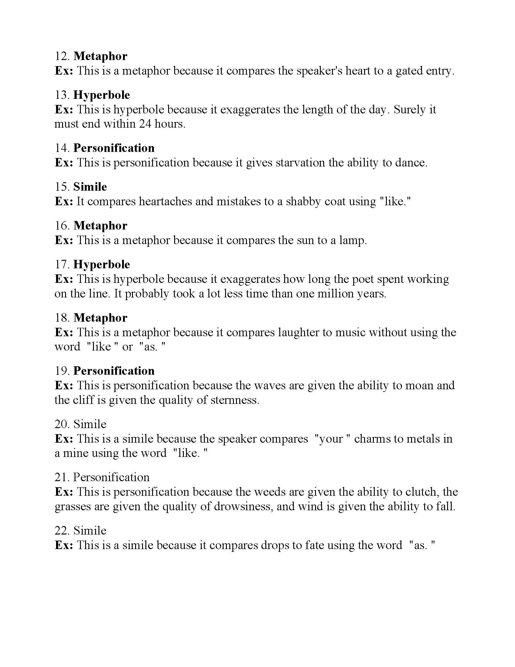 Figurative Language Worksheet 8   Answers