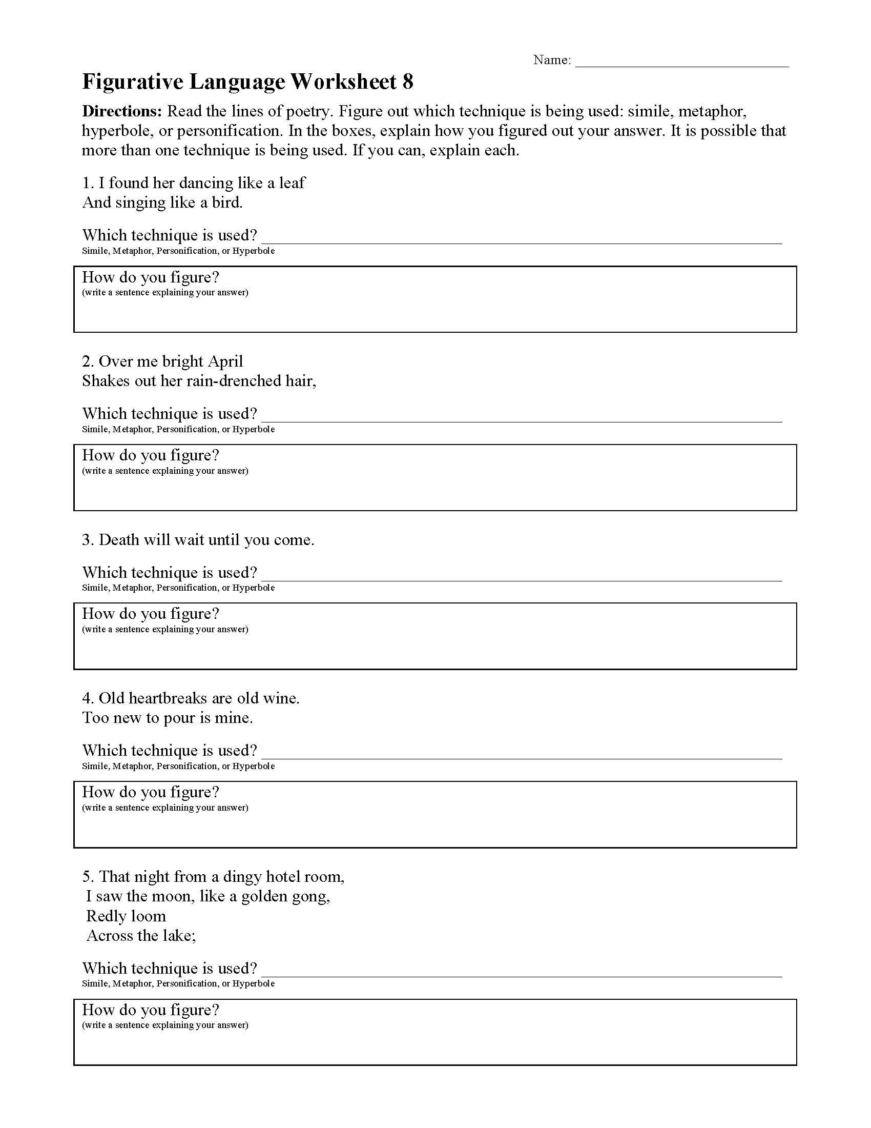 This is a preview image of the Figurative Language Worksheet 8.