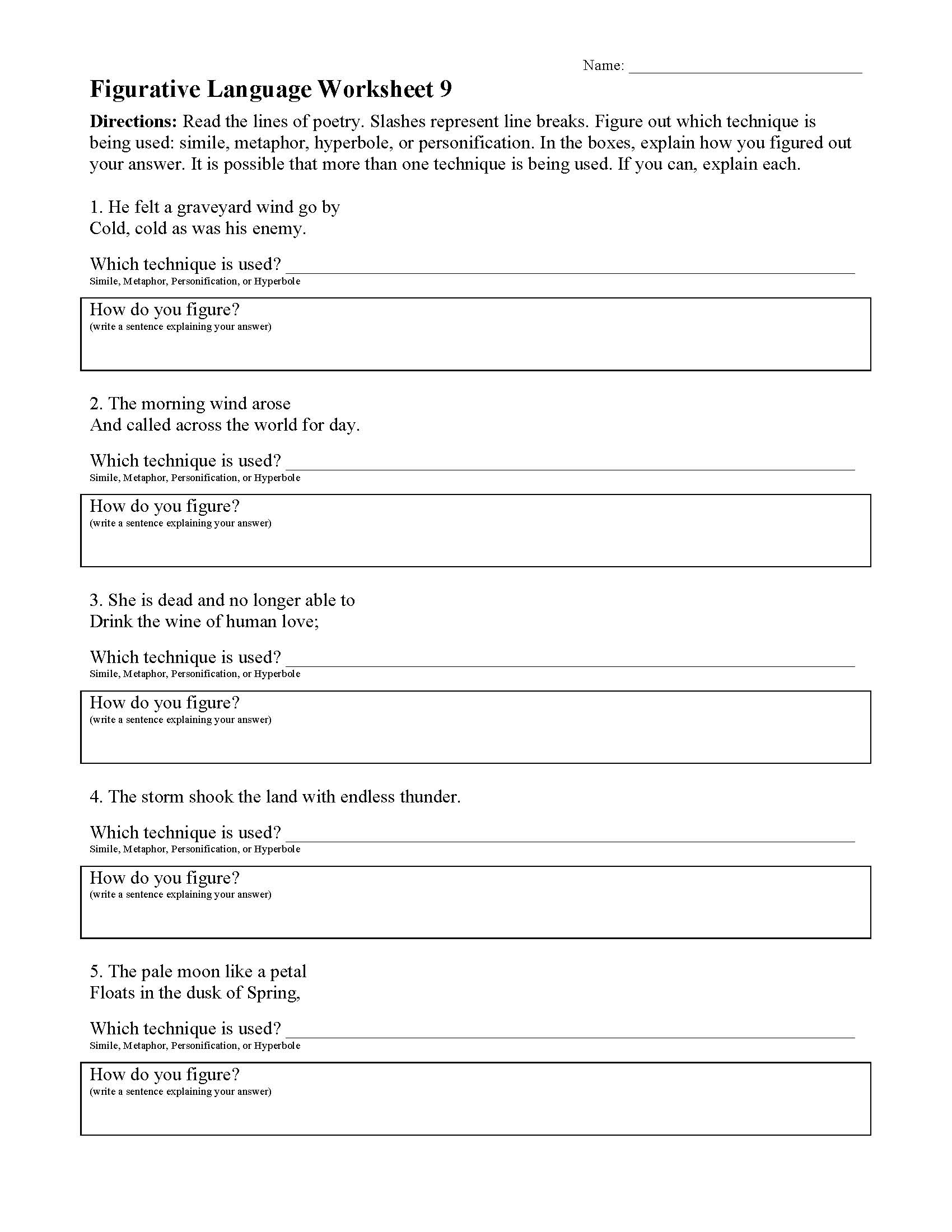 Figurative Language Worksheet 9 | Preview