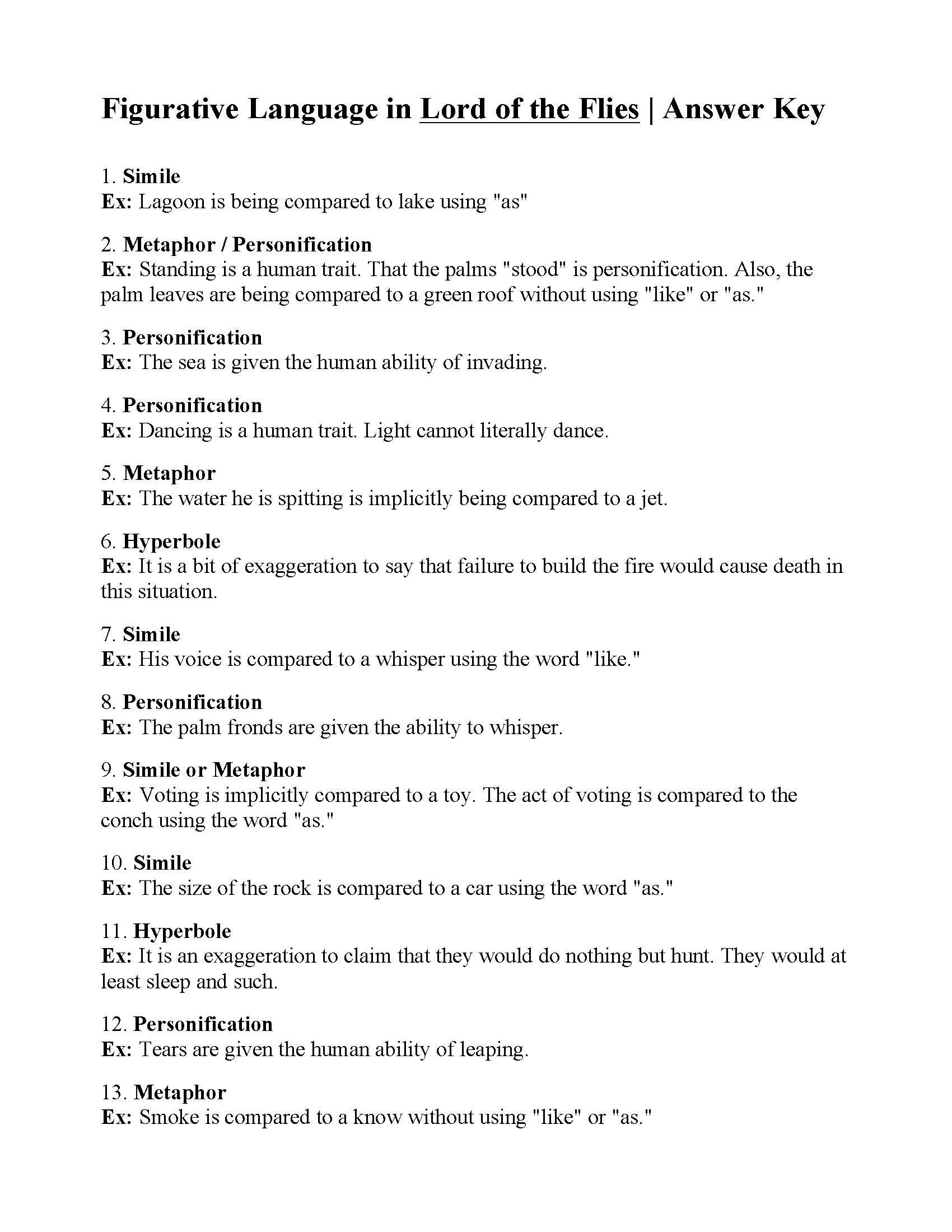 Figurative Language Worksheet - Lord of the Flies | Answers