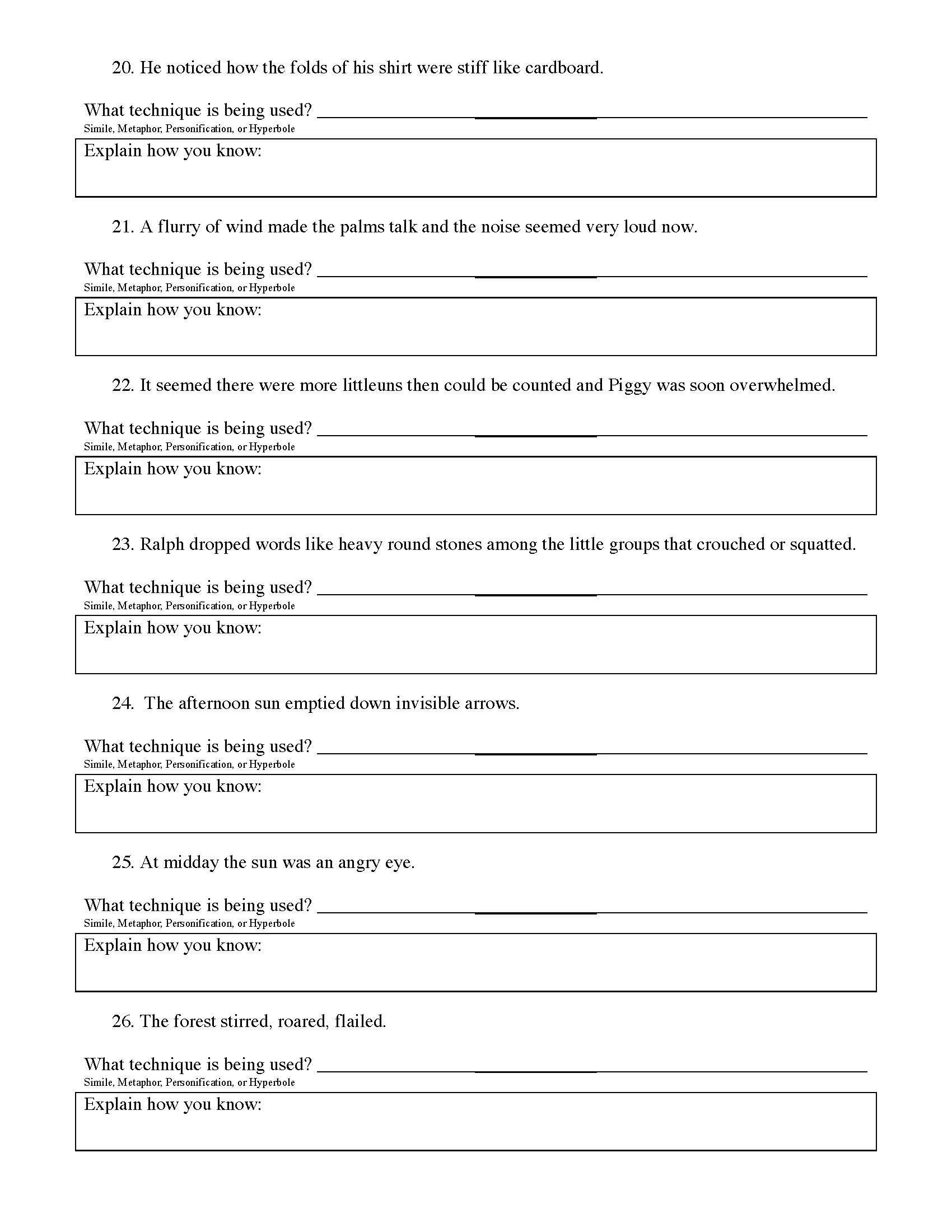 Figurative Language Worksheet - Lord of the Flies | Preview