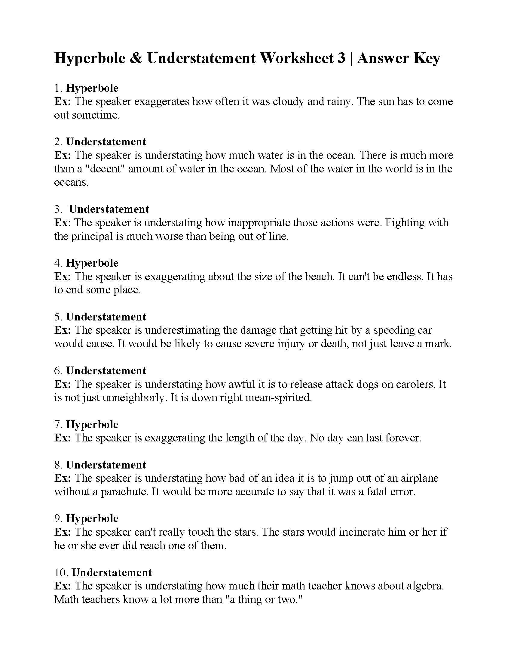 Hyperbole and Understatement Worksheet 3 | Answers