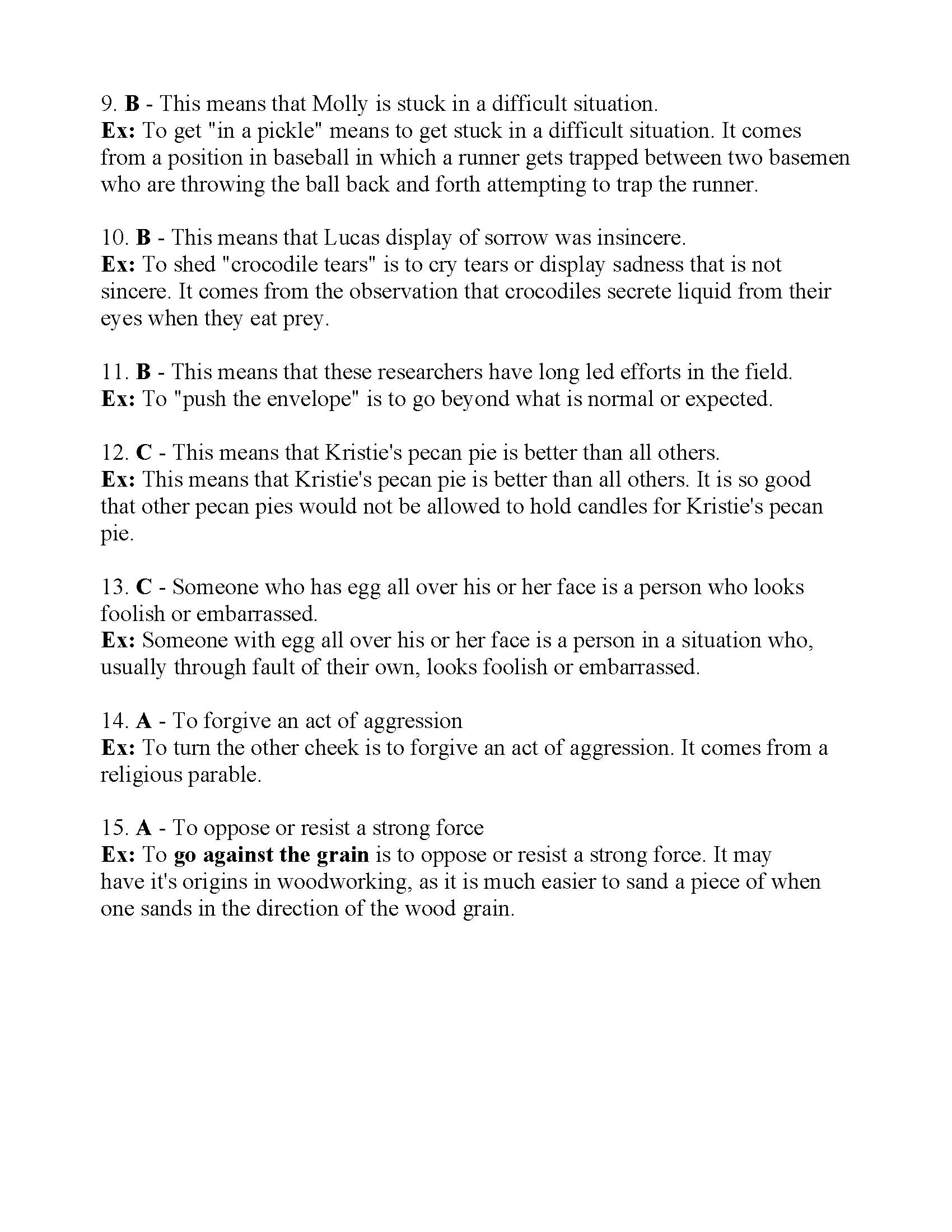 Idioms Test 2 | Answers