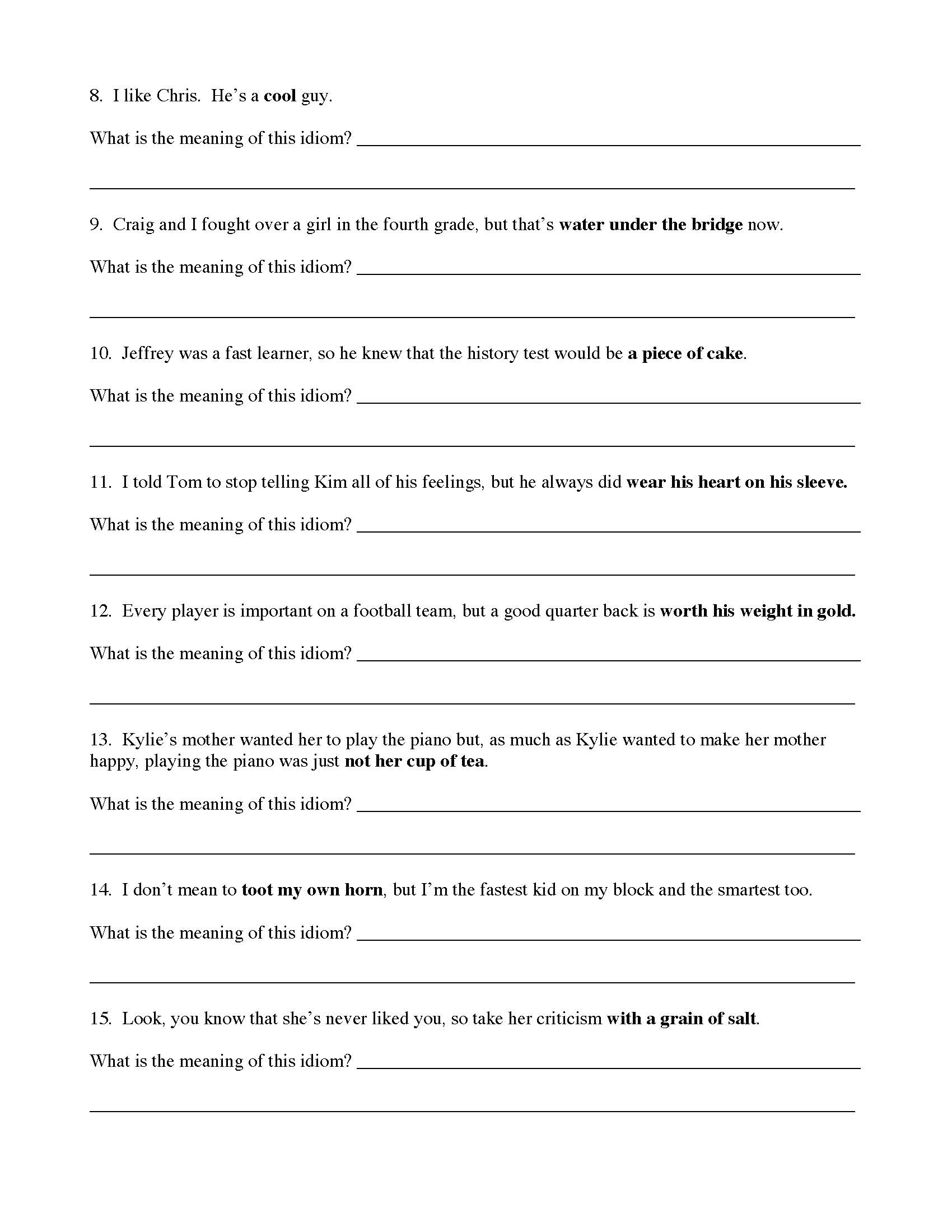 Idioms Worksheet 2 Preview This means that you need to learn what each idiom example means as you cannot work out the this recording has the 50 idiom examples being spoken by a native english speaker so you can hear the. idioms worksheet 2 preview