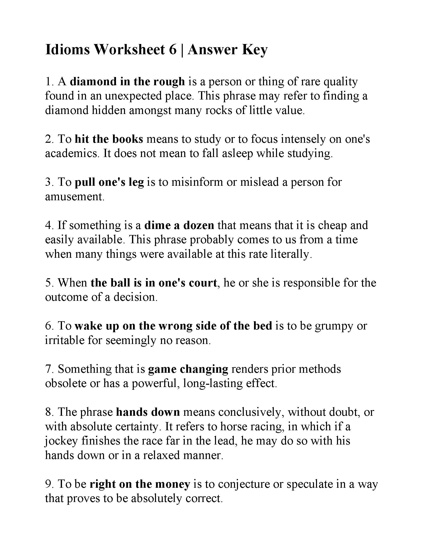 Idioms Worksheet 6 | Answers