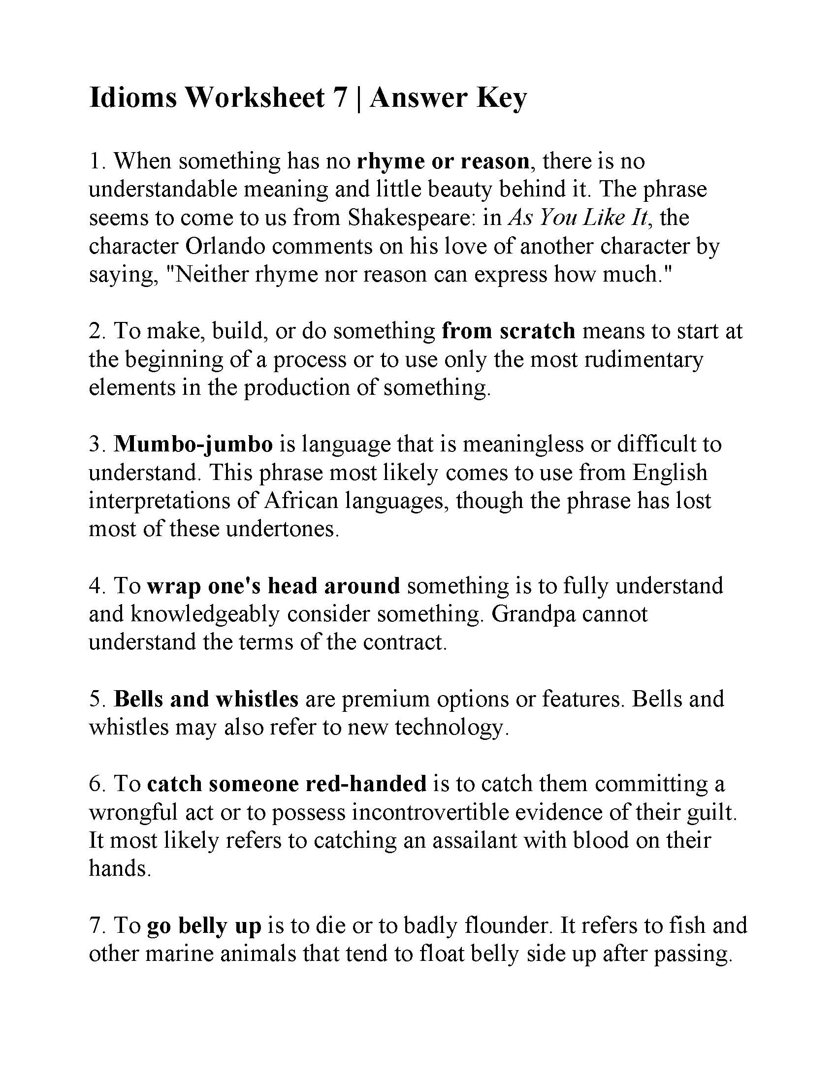 Idioms Worksheet 7   Answers
