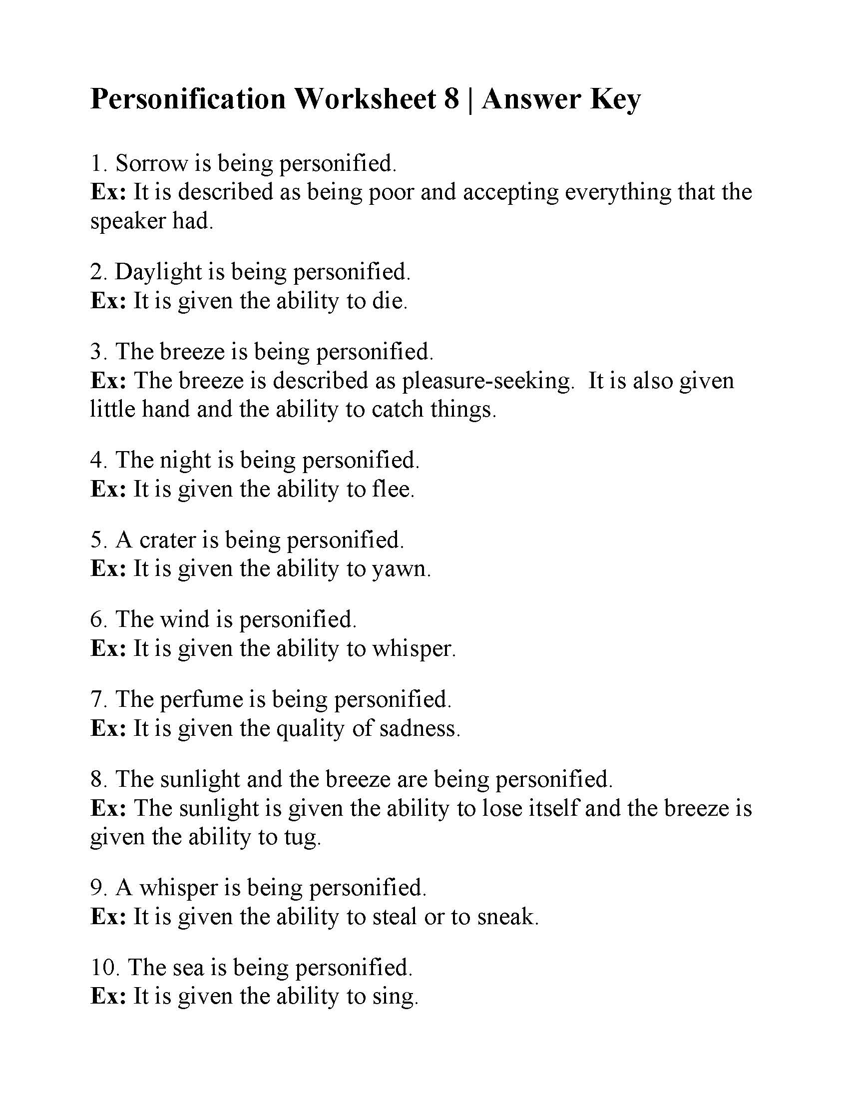 Worksheets Personification Worksheets personification worksheet 8 answers this is the answer key for 8