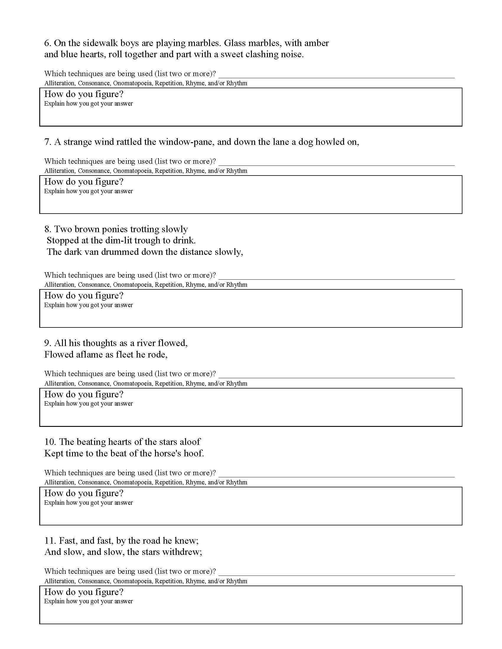 Poetic Devices Worksheet 2 | Preview