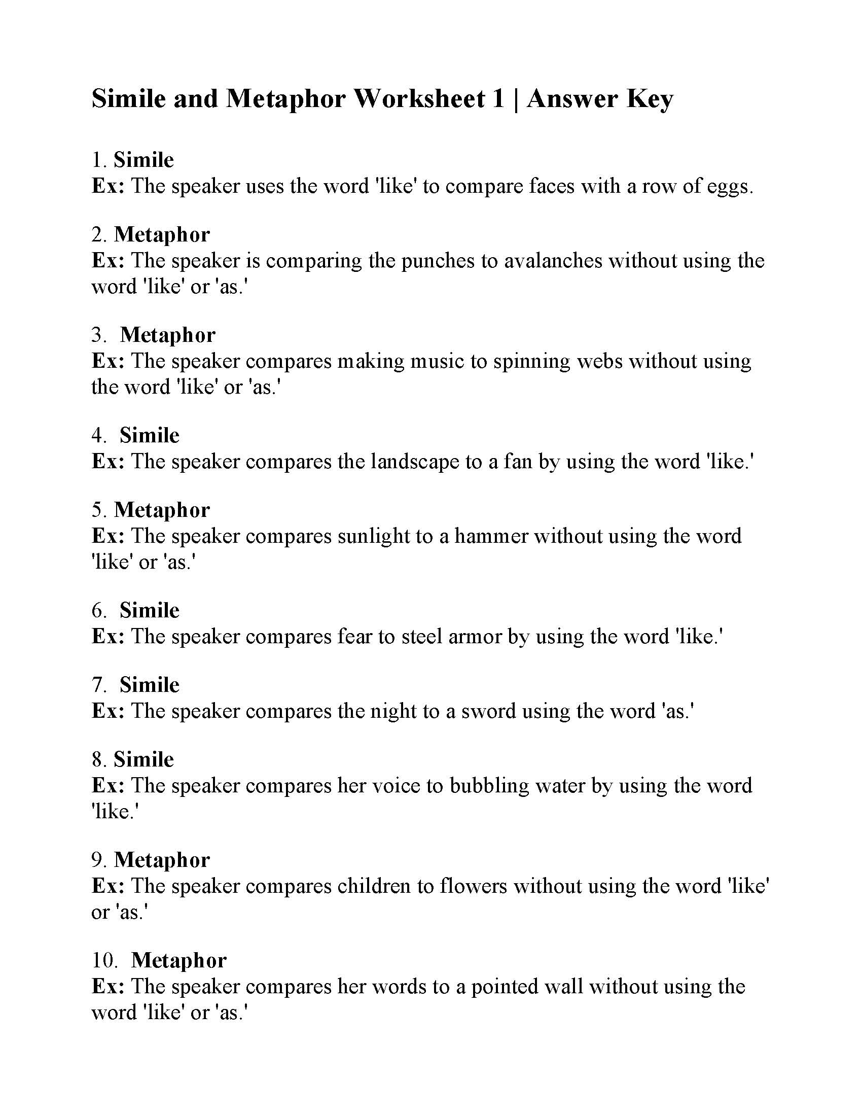 This is the answer key for the Simile and Metaphor Worksheet 1.