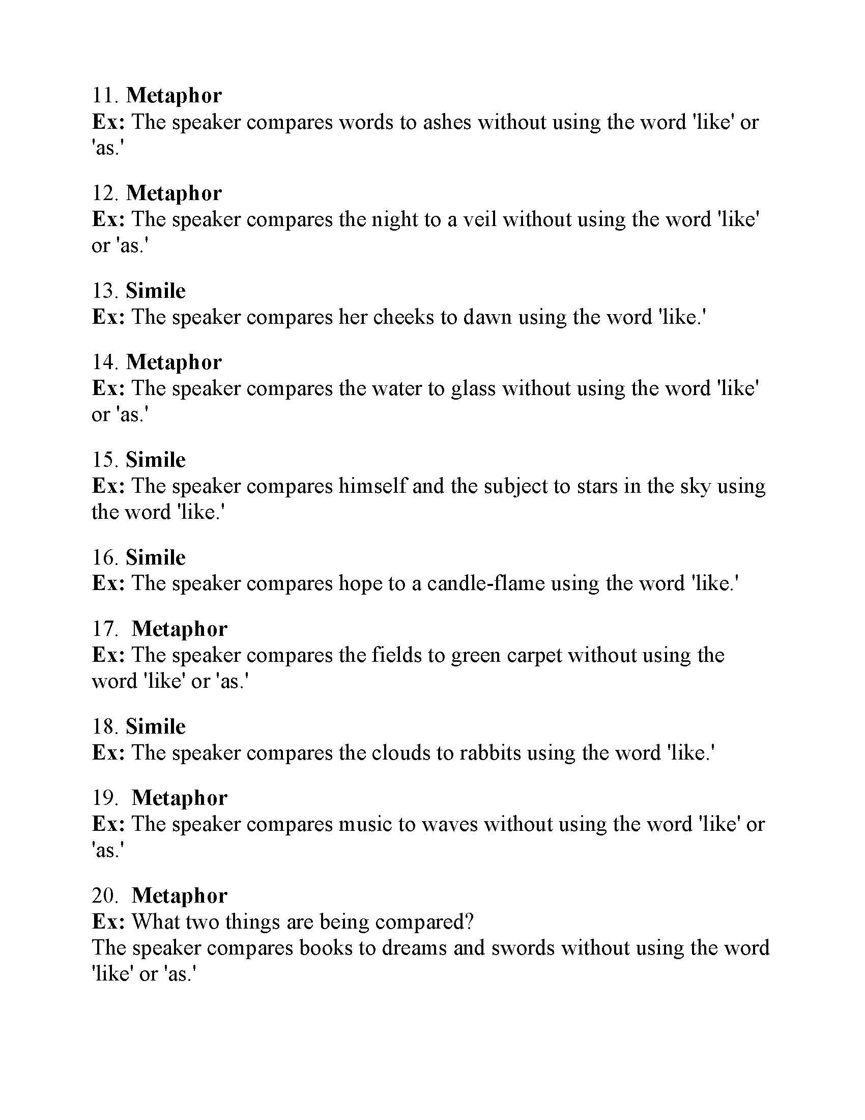 Simile And Metaphor Worksheet 1   TUTORE.ORG   Master of ...