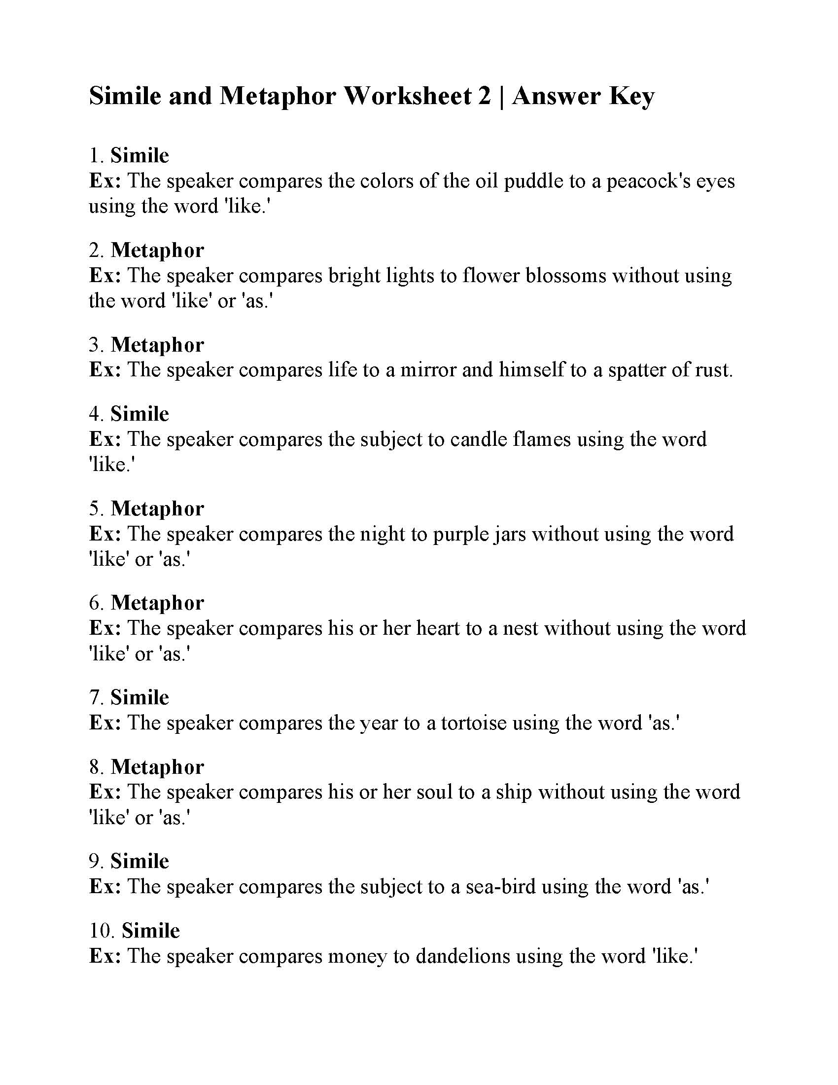 Simile and Metaphor Worksheet 2 | Answers