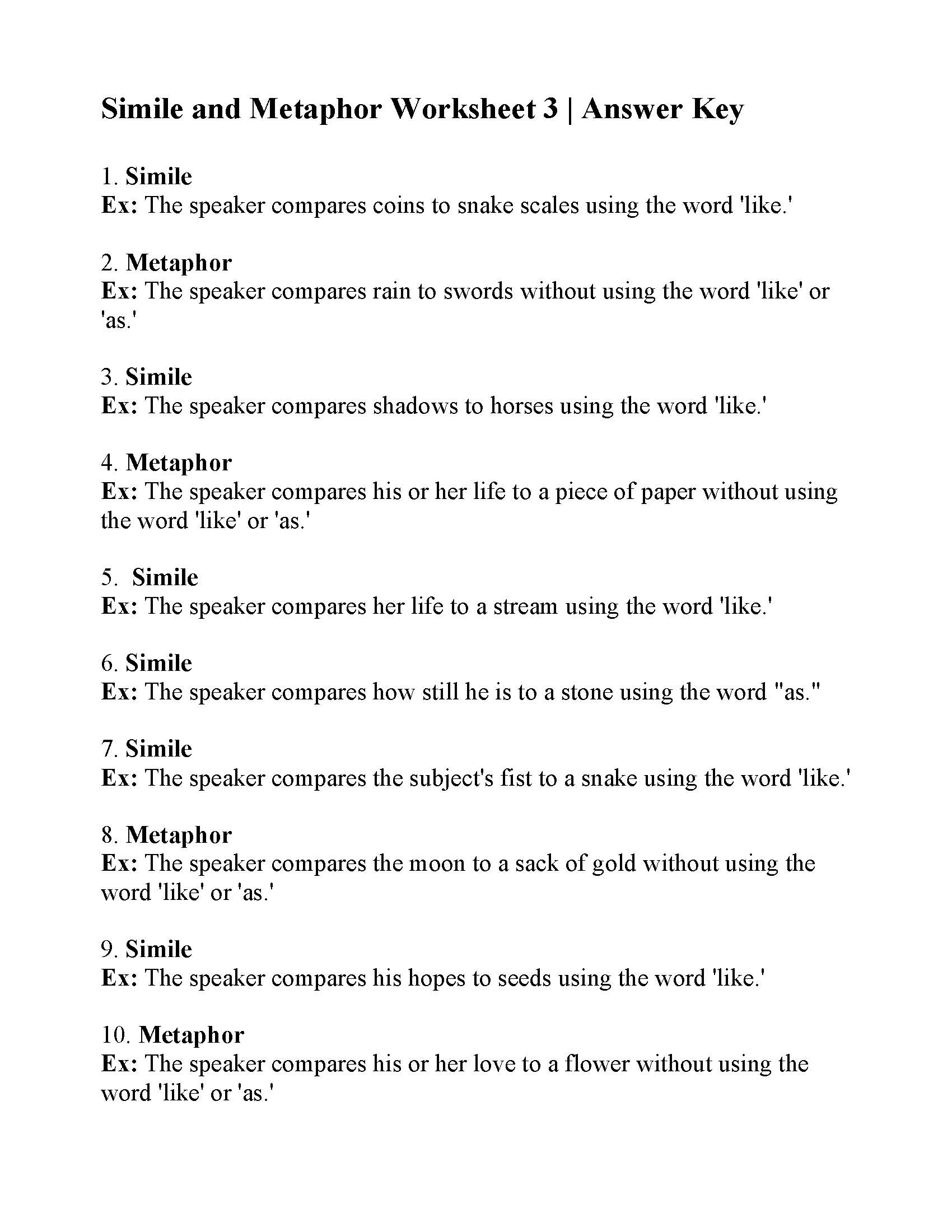 Simile And Metaphor Worksheet 3 Answers
