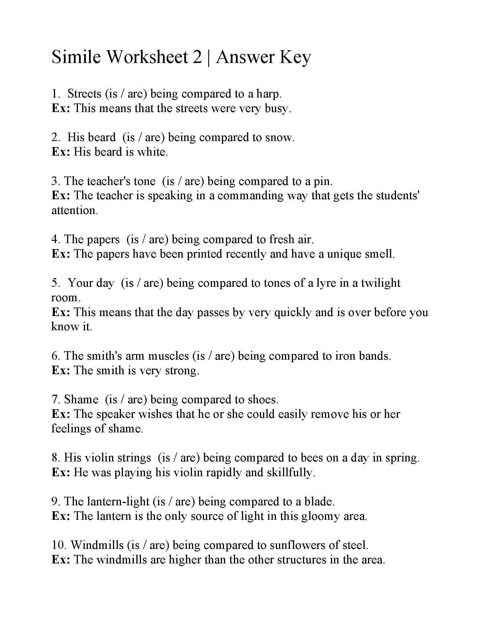 Simile Worksheet 2 | Answers