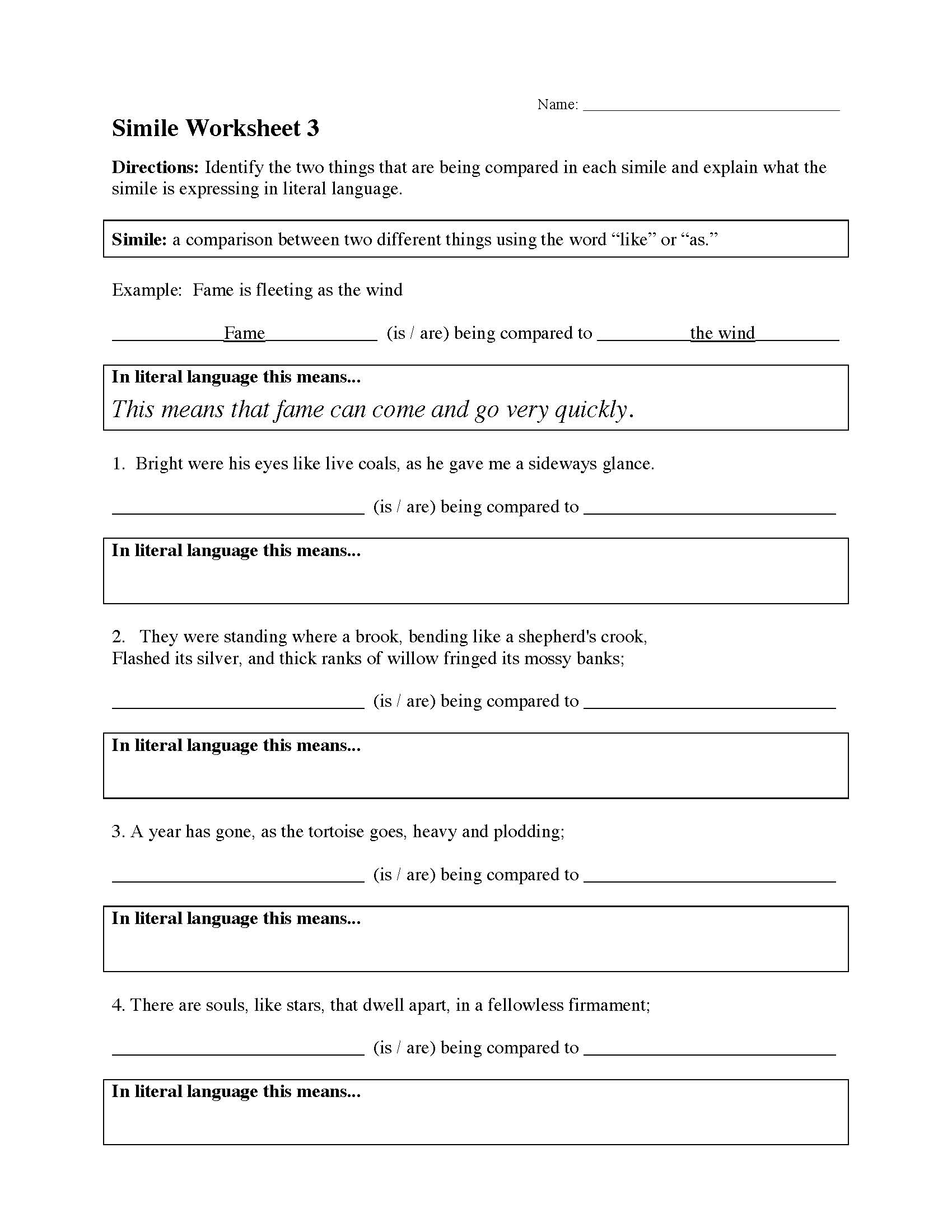 Worksheets Simile Worksheets simile worksheet 3 preview this is a image of the 3