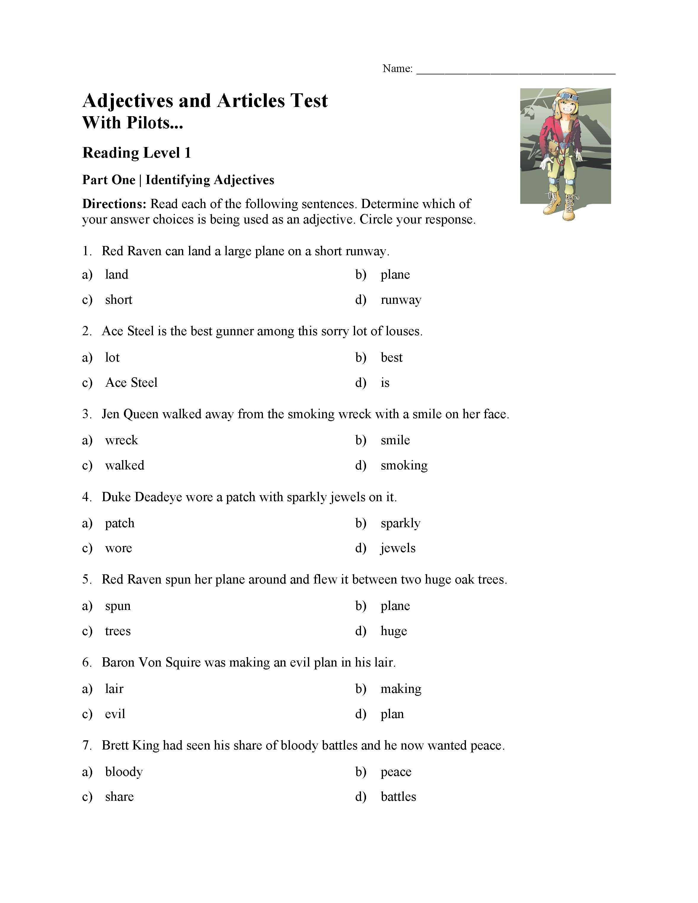 This is a preview image of the Adjectives and Articles Test With Pilots - Reading Level 1.