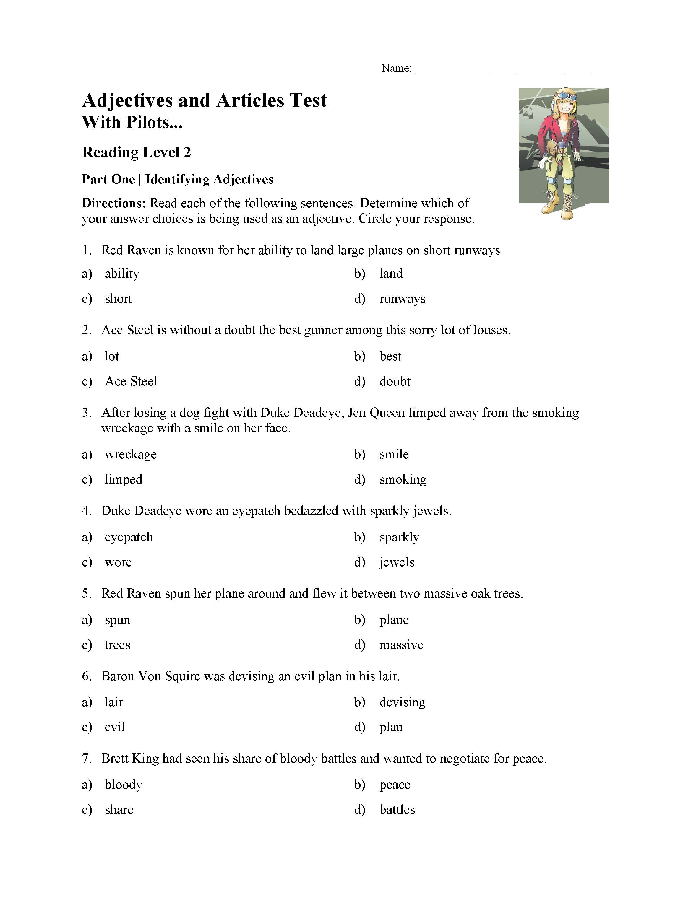 This is a preview image of the Adjectives and Articles Test With Pilots - Reading Level 2.
