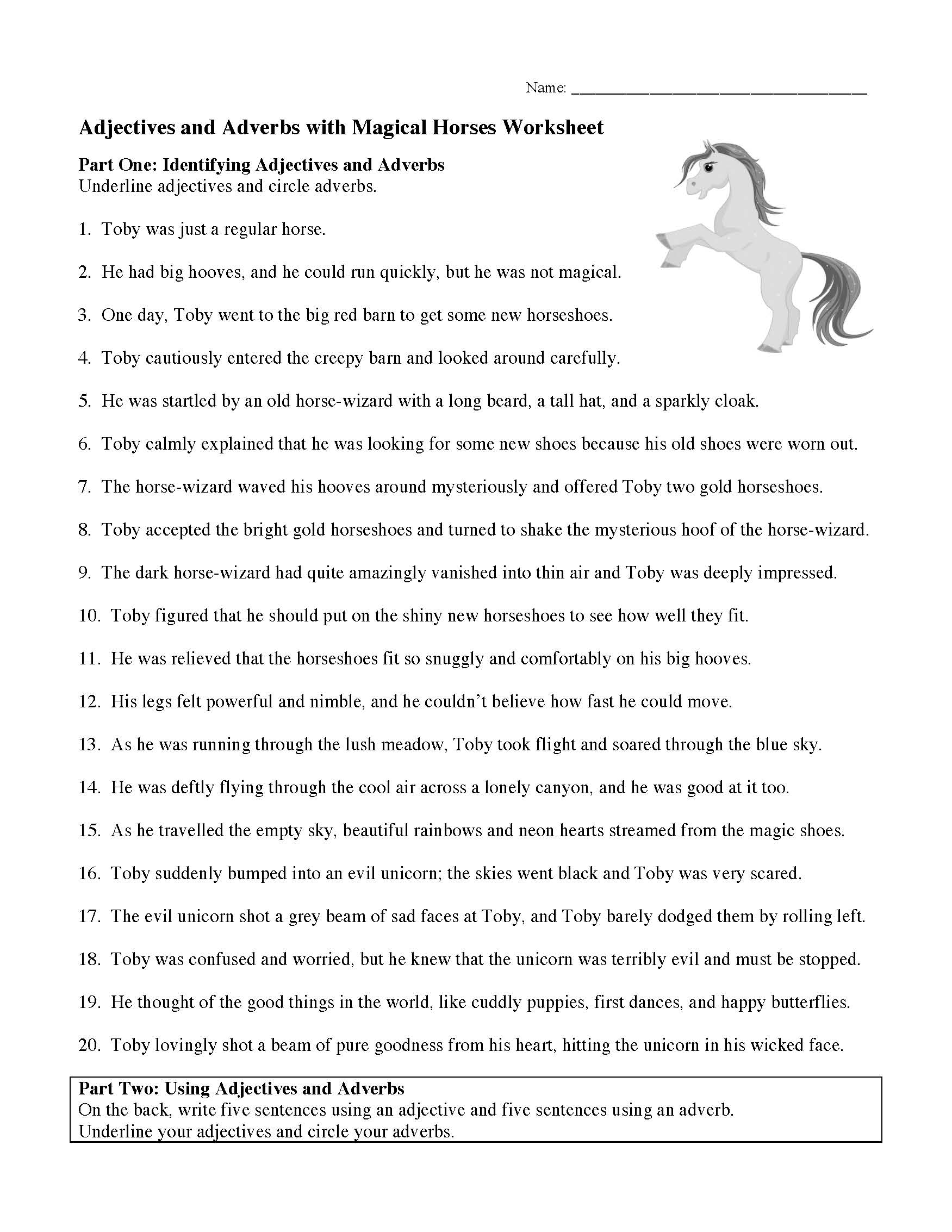 This is a preview image of the Adjectives and Adverbs with Magical Horses Worksheet.