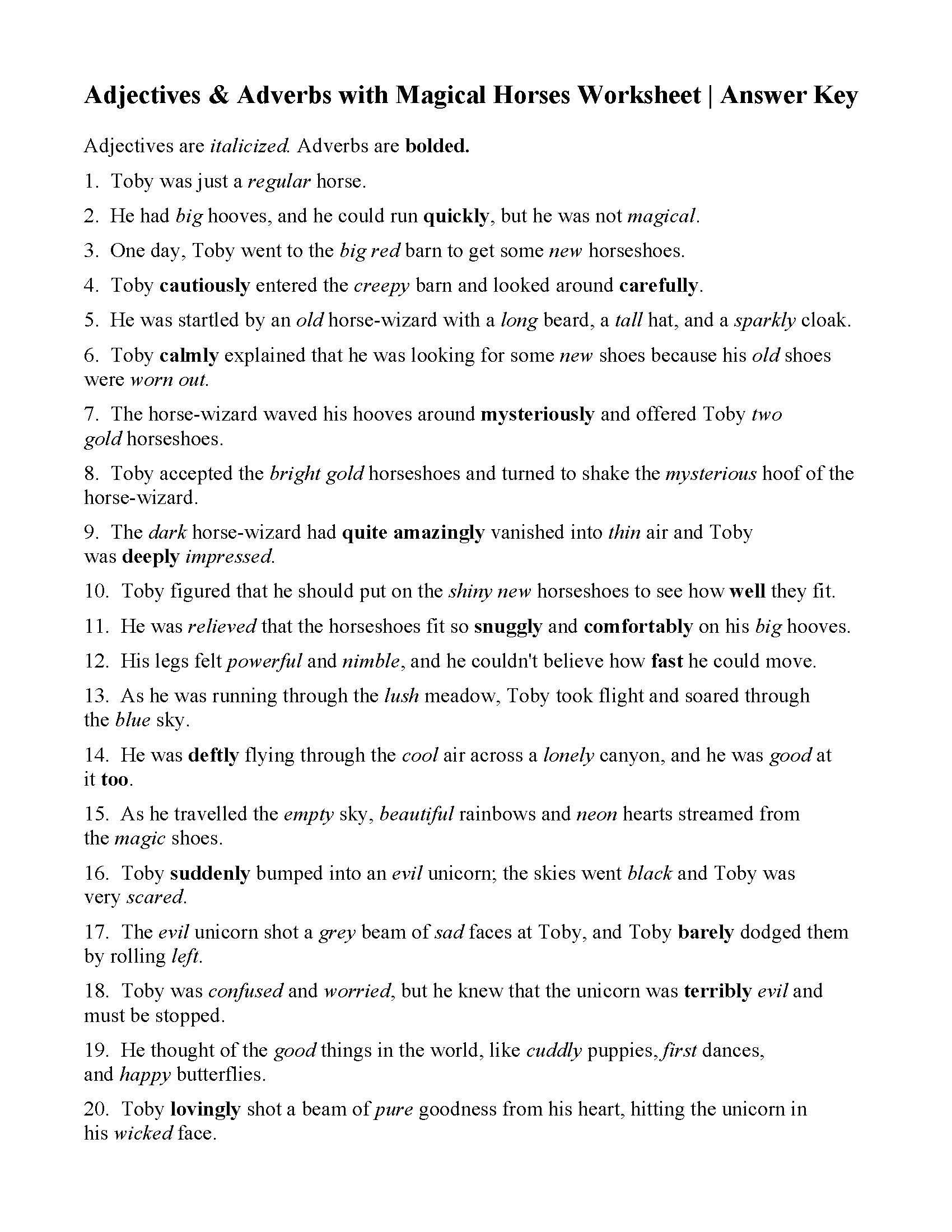 Adjectives And Adverbs With Magical Horses Worksheet Answers Adjectives worksheets for k12 kids and parents. adjectives and adverbs with magical