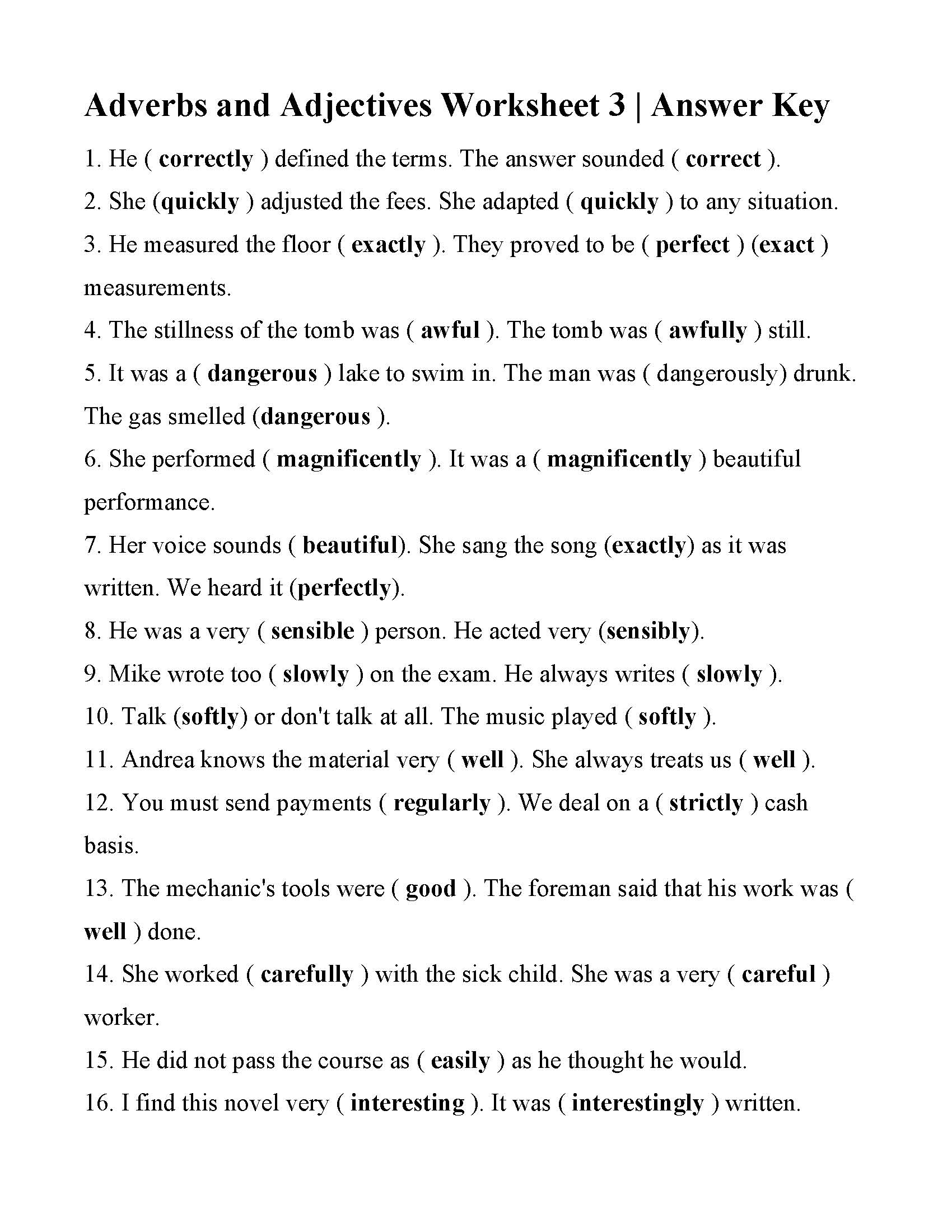 Adverbs and Adjectives Worksheet 20   Answers