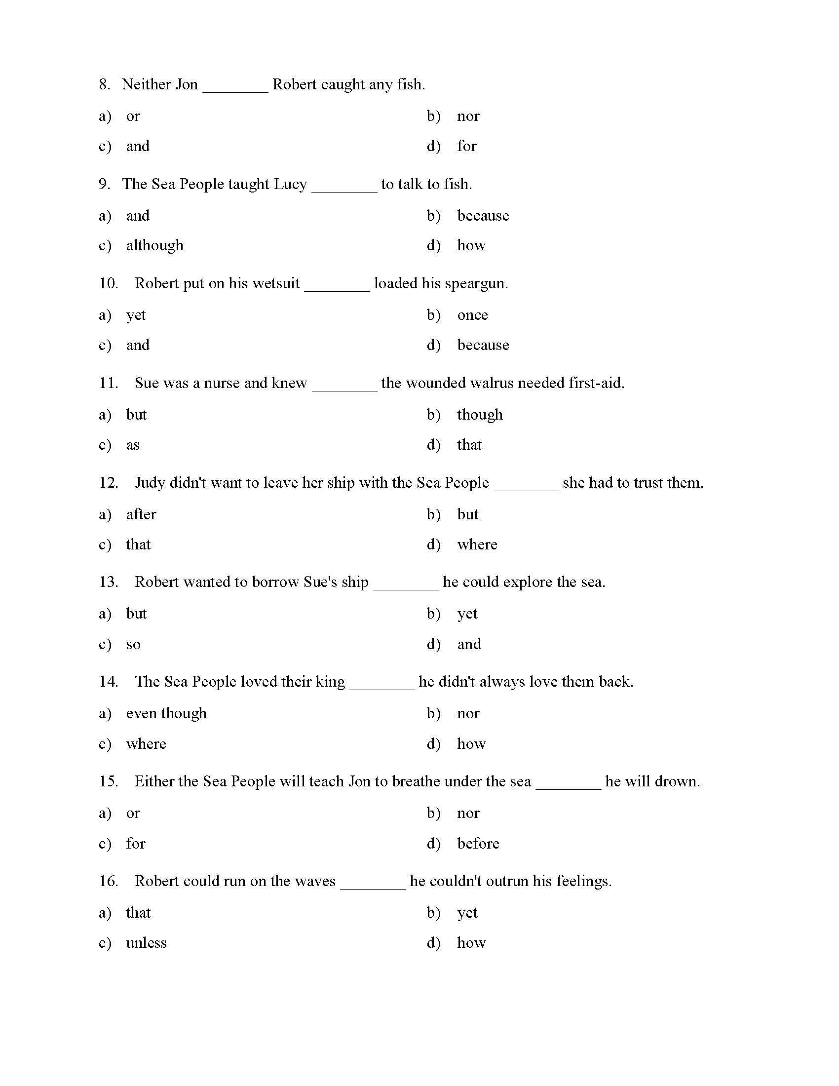 Choosing the Right Conjunction Worksheet - Reading Level 1 | Preview