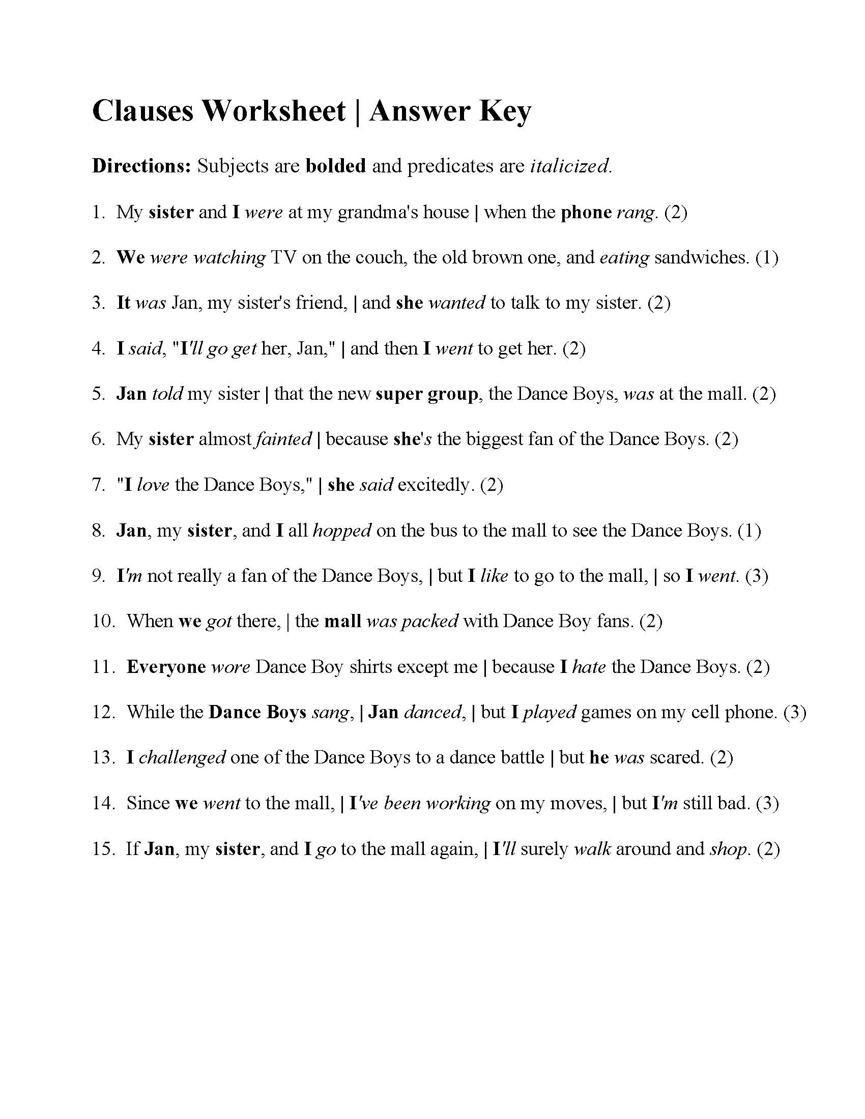 Clauses Worksheet Answers