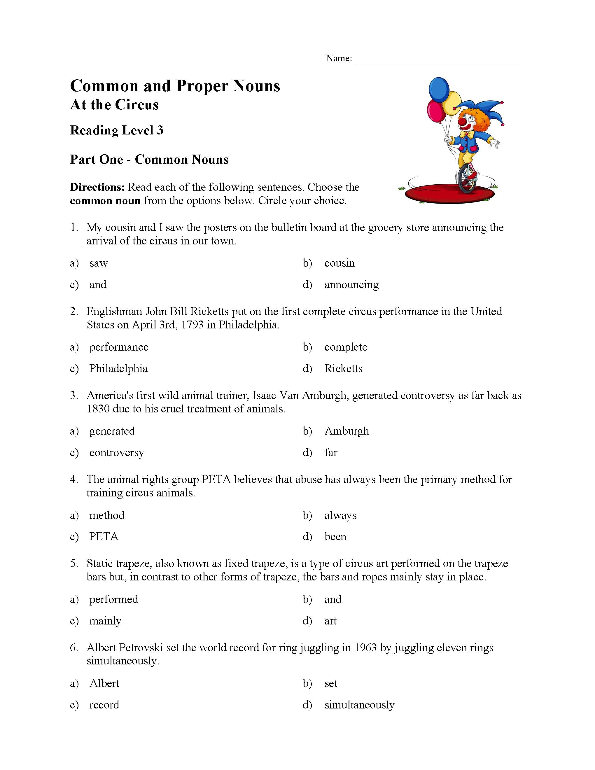 Common And Proper Nouns Test 3 Reading Level 3 Preview