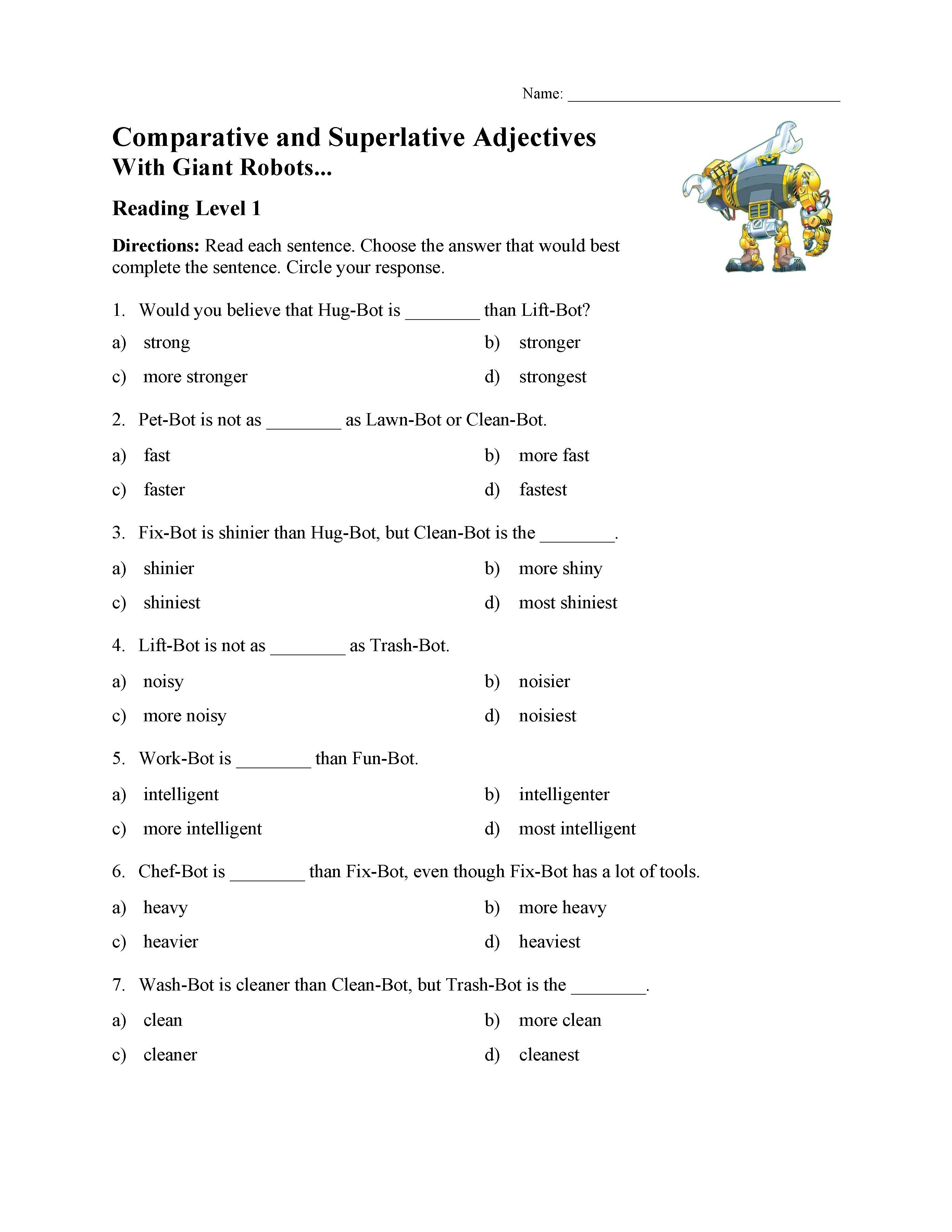 Superlative Adjectives Worksheet likewise Superlative Adjectives Worksheets Grade About This Worksheet further Who Will Score the Most   parative and Superlative Adjective Game additionally parative and Superlative Adjectives Test With Giant Robots also parative and superlative adverbs worksheets as well parative superlative worksheets additionally Free Printable   parative and Superlative Adjectives   eTeachers additionally Adjectives Worksheets    parative and Superlative Adjectives besides  likewise  besides parative adjectives worksheets 2nd grade furthermore parative Or Superlative  parative Or Superlative Reading as well About This Worksheet Superlative Adjectives Worksheets Grade additionally PrimaryLeap co uk    parative and Superlative Adjectives Worksheet likewise English Exercises   parative   Superlative also . on comparative and superlative adjectives worksheet