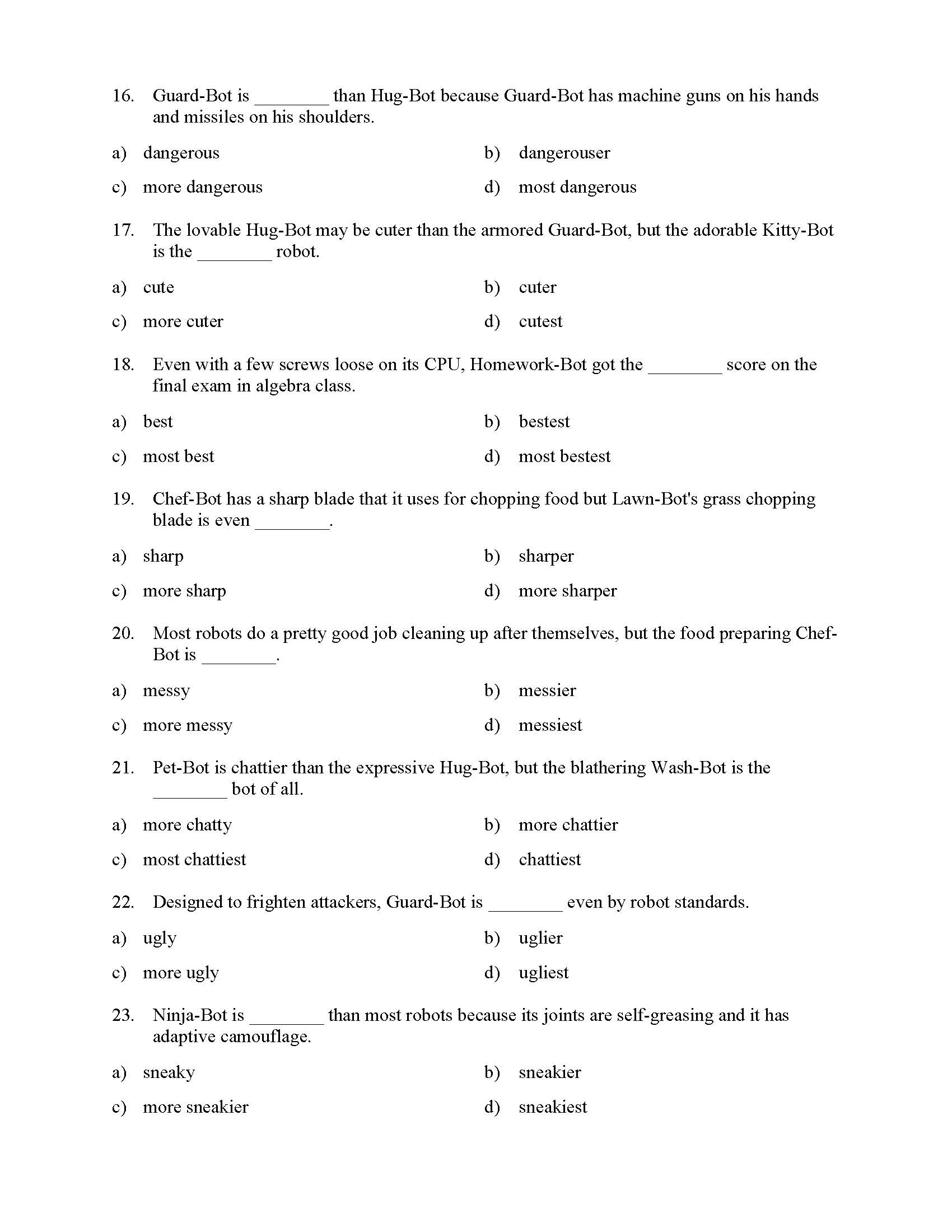 Comparative And Superlative Adjectives Test With Giant Robots Reading Level 3 Preview Download all our adjectives worksheets for teachers, parents, and kids. comparative and superlative adjectives