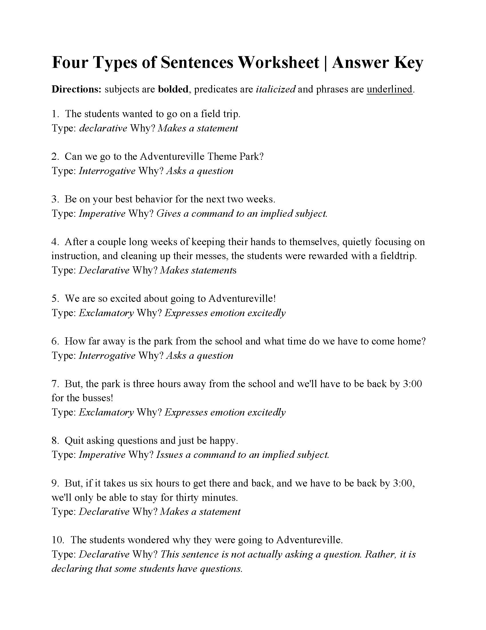Worksheets Imperative And Exclamatory Sentences Worksheet four types of sentences worksheet answers this is the answer key for worksheet