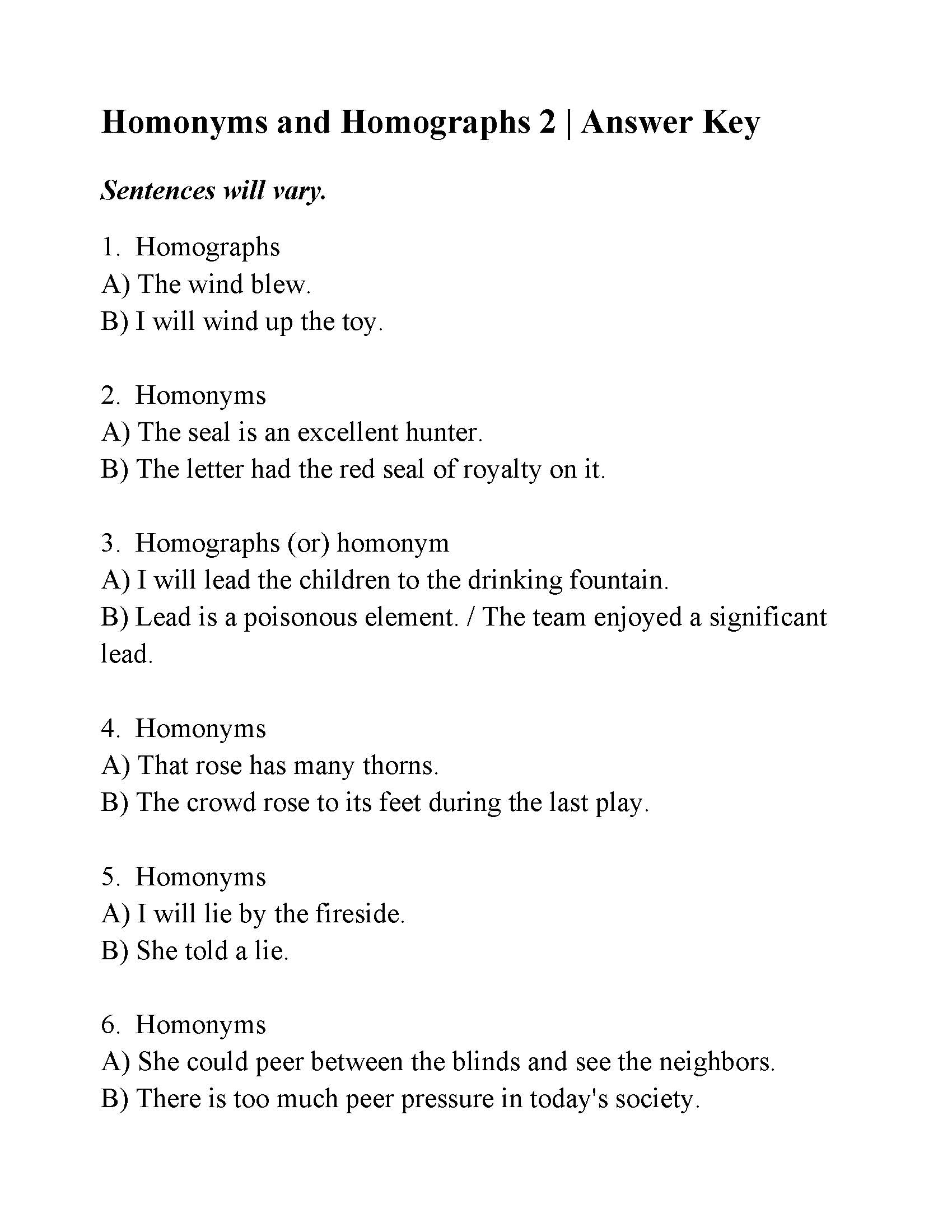 Homonyms and Homographs Worksheet 2 | Answers