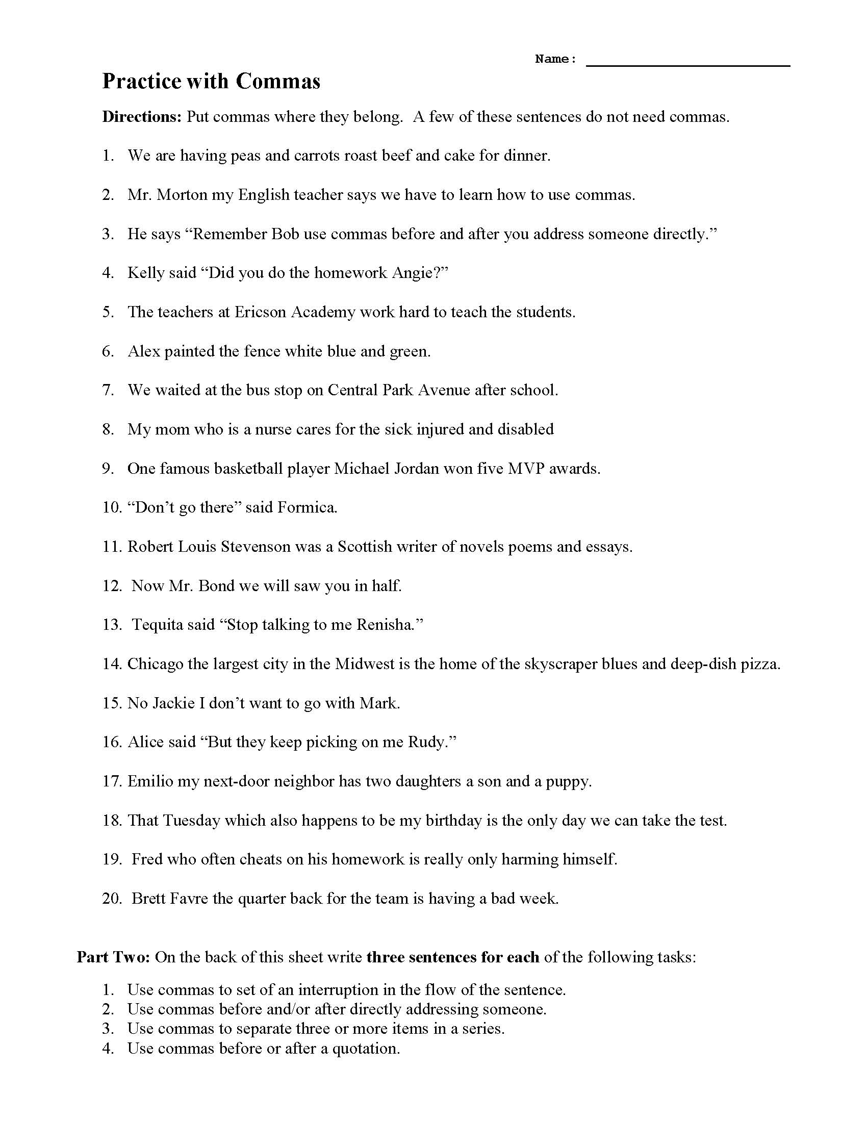 Practice With Commas Preview Punctuation worksheets help familiarize students with the appropriate uses. practice with commas preview