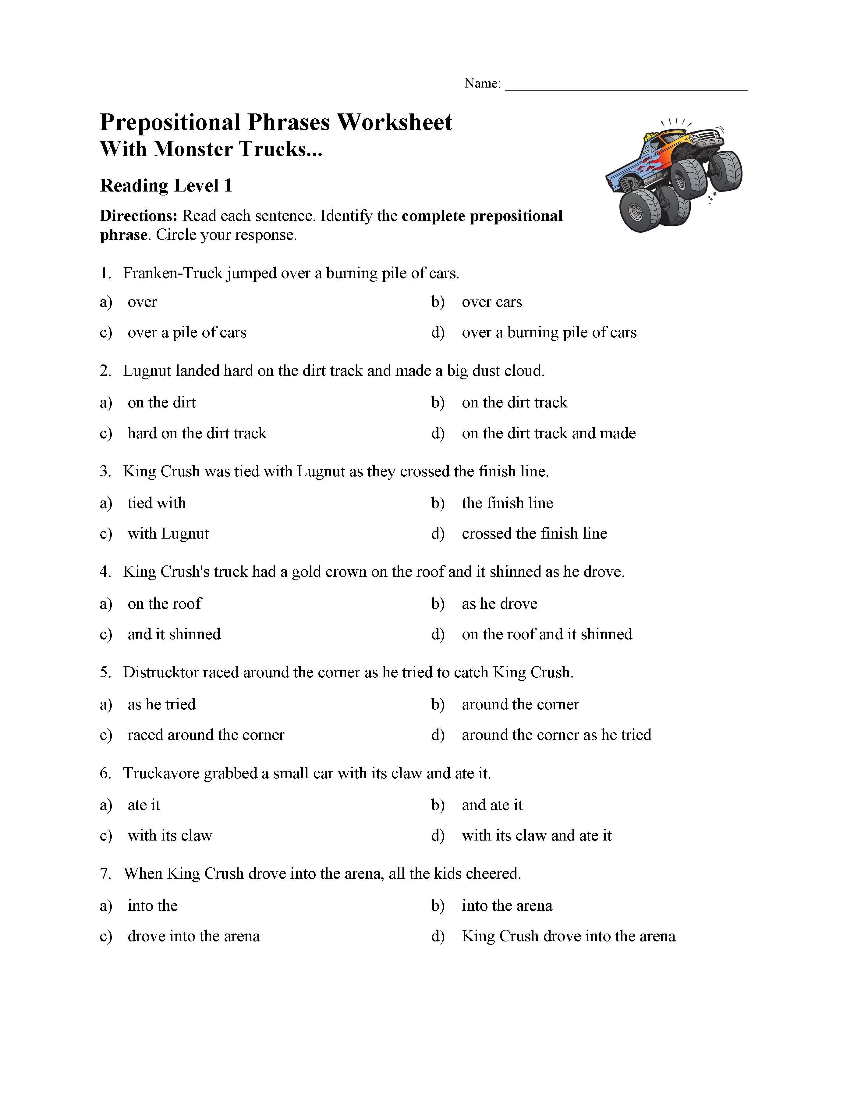 - Prepositional Phrases Worksheet 1 - Reading Level 1 Preview
