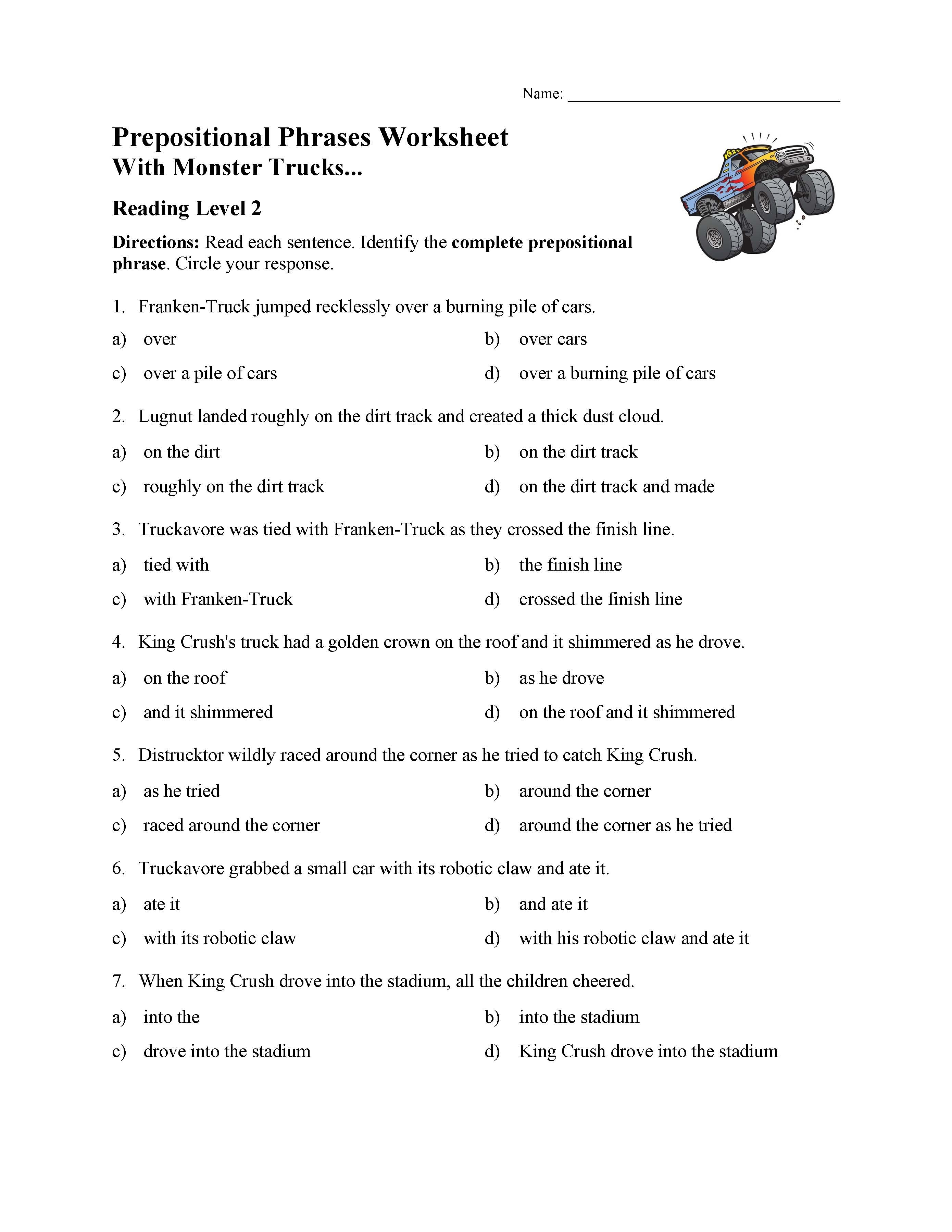 - Prepositional Phrases Worksheet 1 - Reading Level 2 Preview