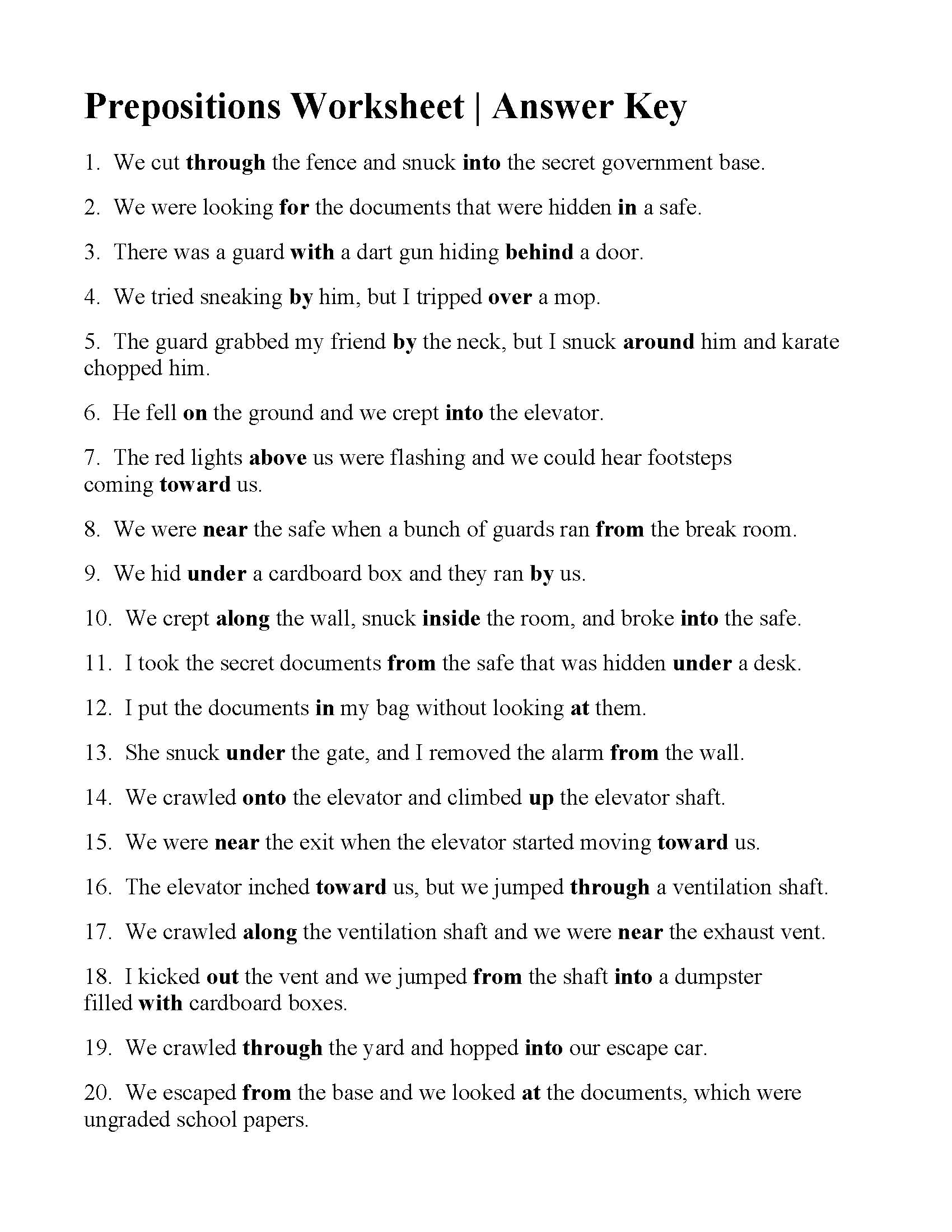 Worksheets Prepositions Worksheets prepositions worksheet answers this is the answer key for worksheet