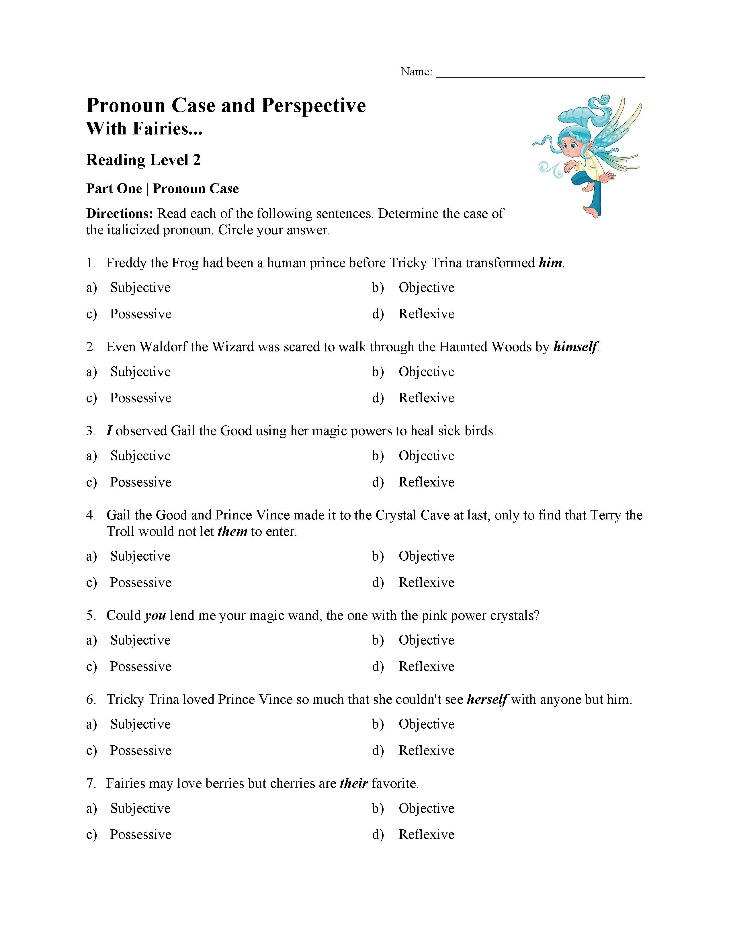 - Pronoun Case And Perspective Test - With Fairies Reading Level 2