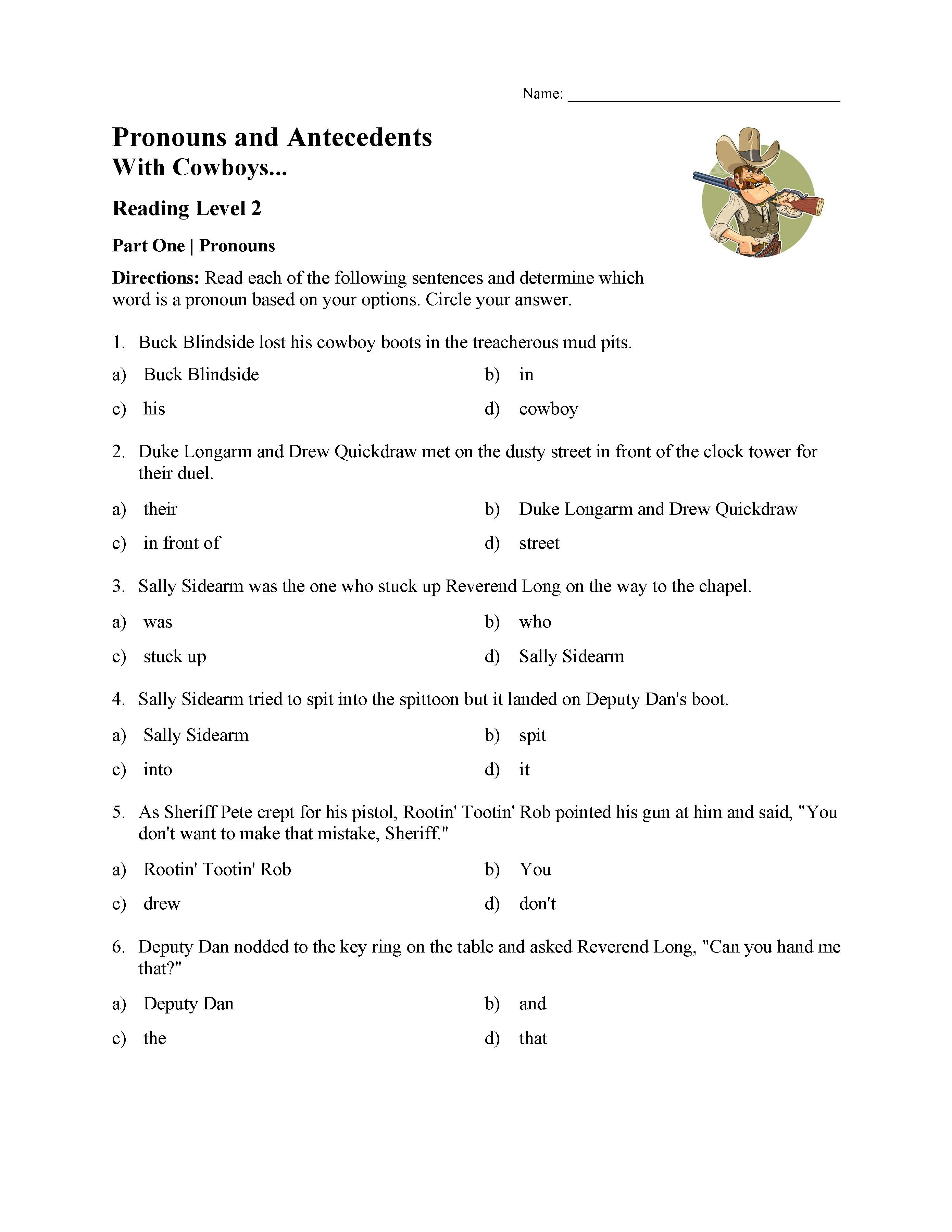 Worksheets Pronouns And Antecedents Worksheets pronoun and antecedent test with cowboys reading level 2 preview this is a image of the reading