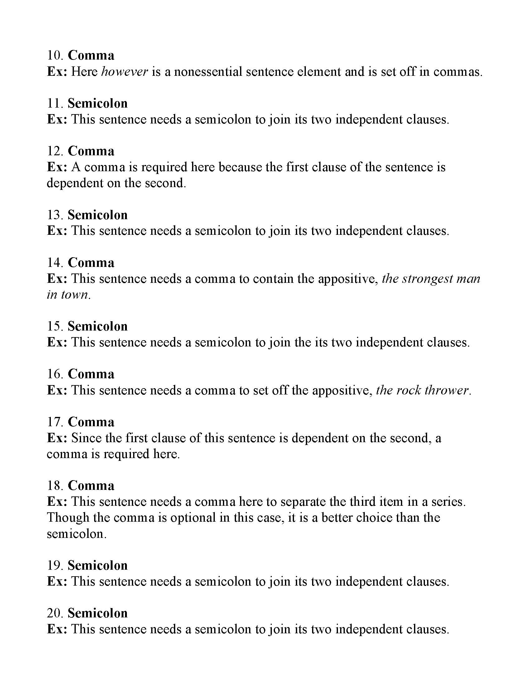 Commas or Semicolons Worksheet 2 | Answers