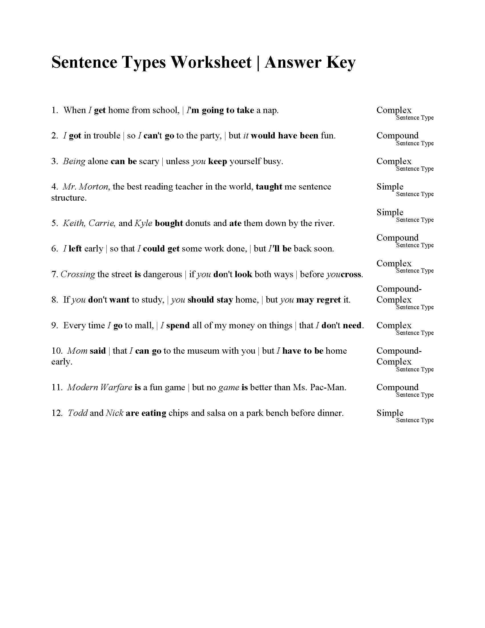 Sentences Types Worksheet Answers