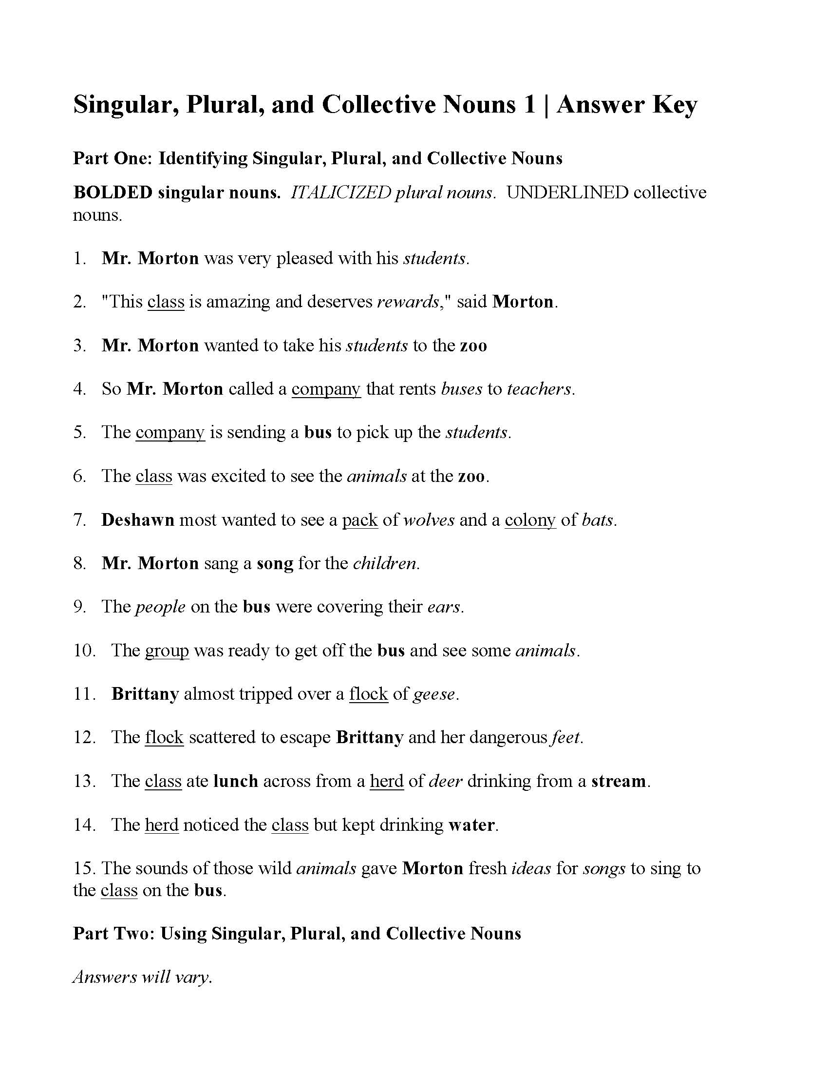 Singular Plural And Collective Nouns Worksheet Answers