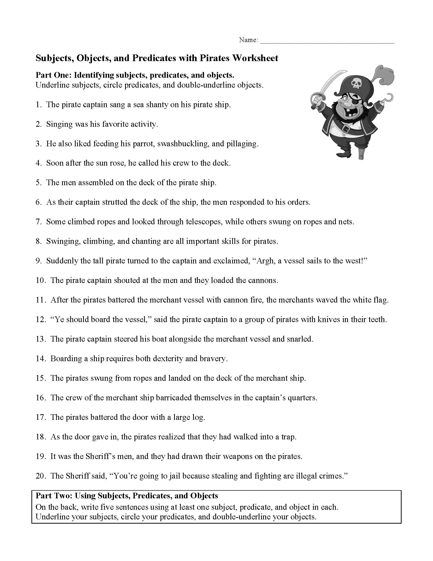 This is a preview image of the Subjects, Objects, and Predicates with Pirates Worksheet.