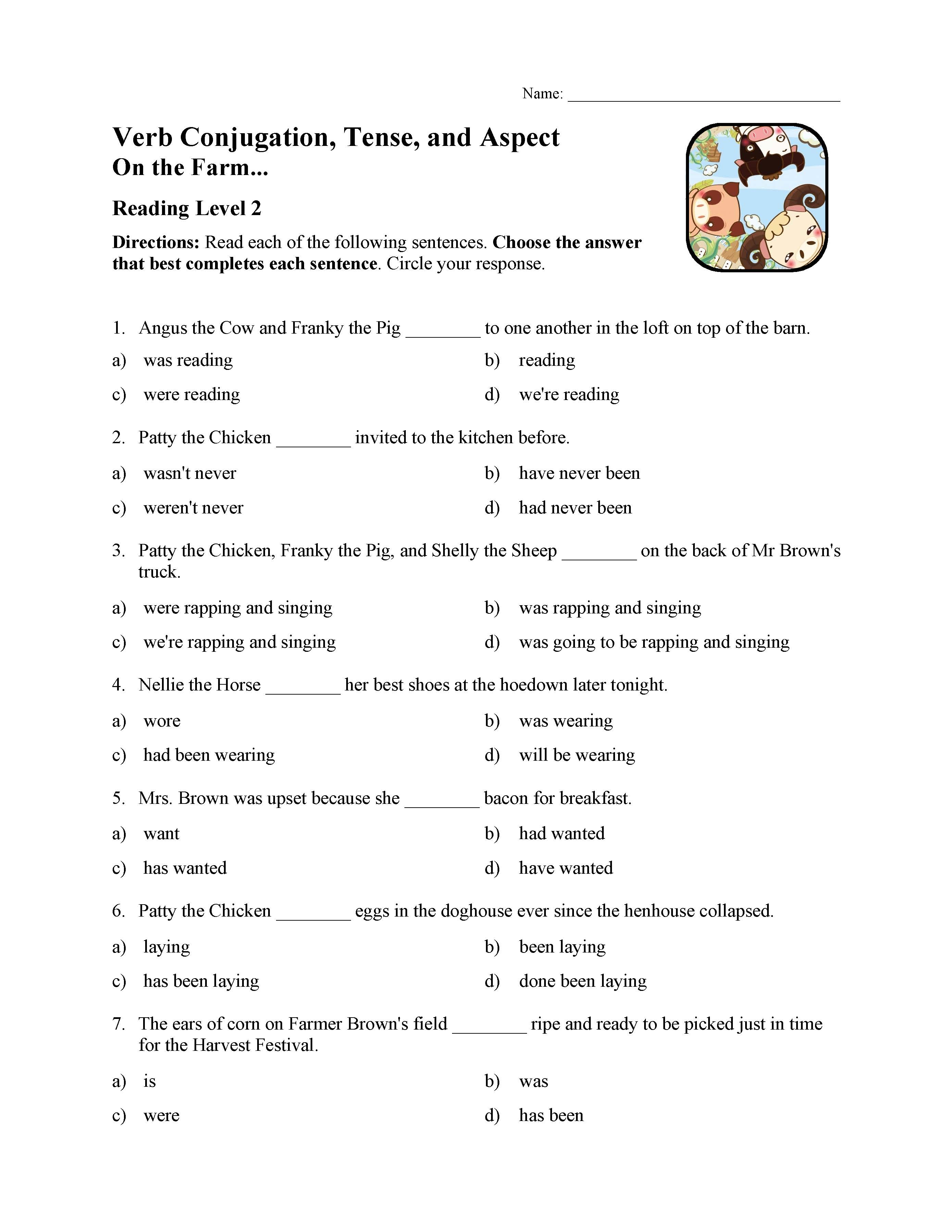 - Verb Conjugation, Tense, And Aspect Test - On The Farm Reading